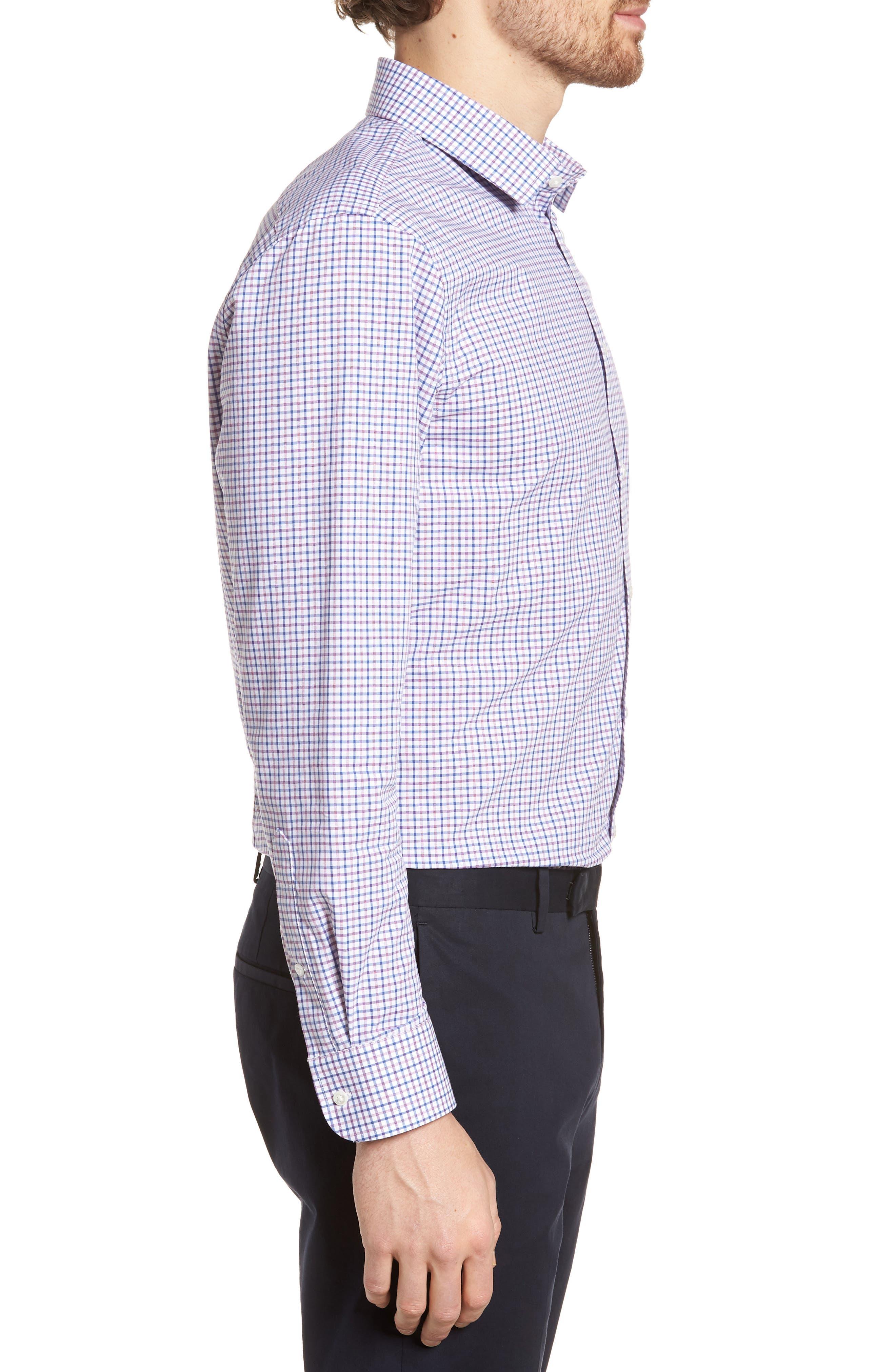 Extra Trim Fit Check Dress Shirt,                             Alternate thumbnail 16, color,
