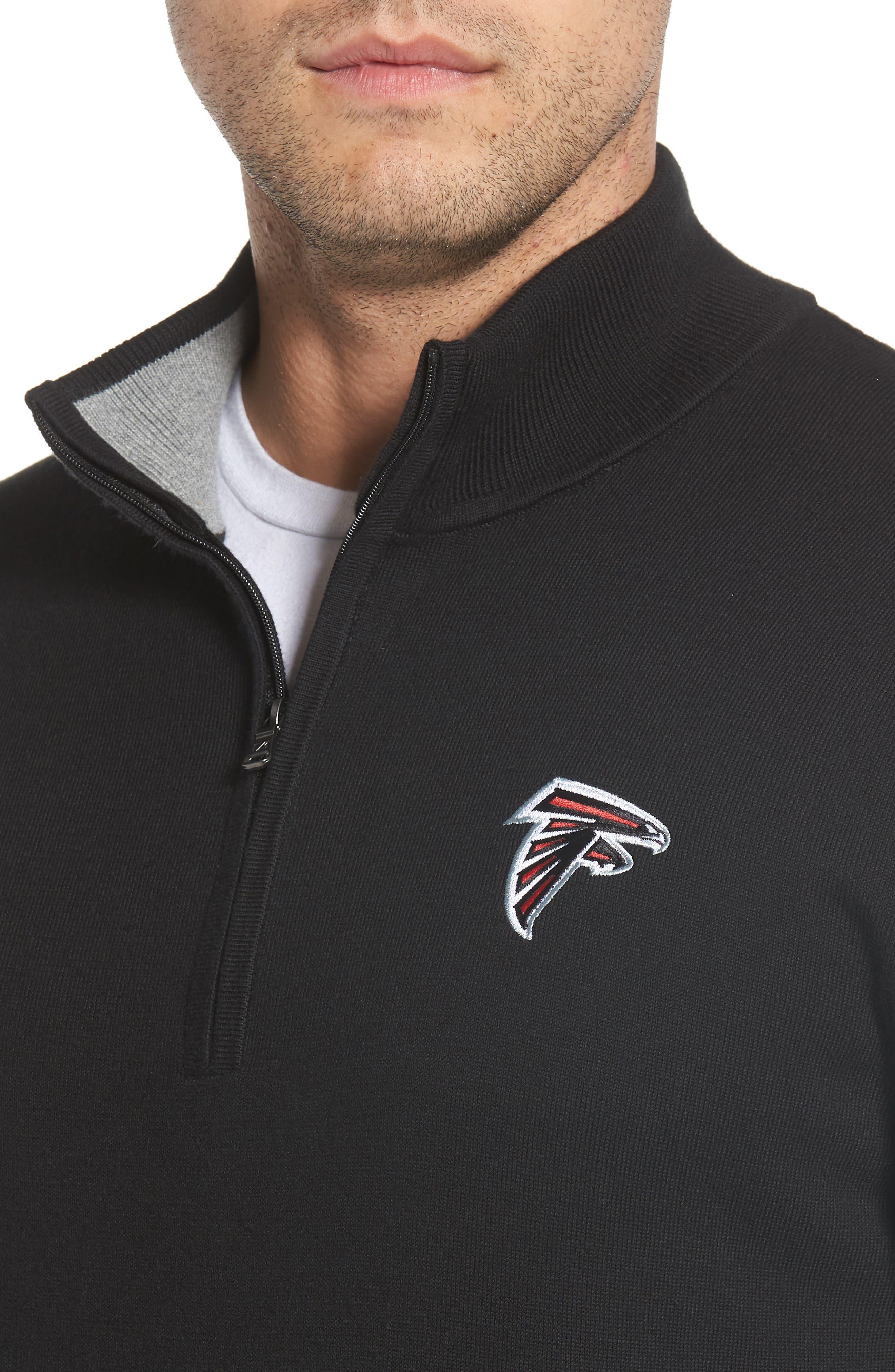 Atlanta Falcons - Lakemont Regular Fit Quarter Zip Sweater,                             Alternate thumbnail 4, color,                             BLACK