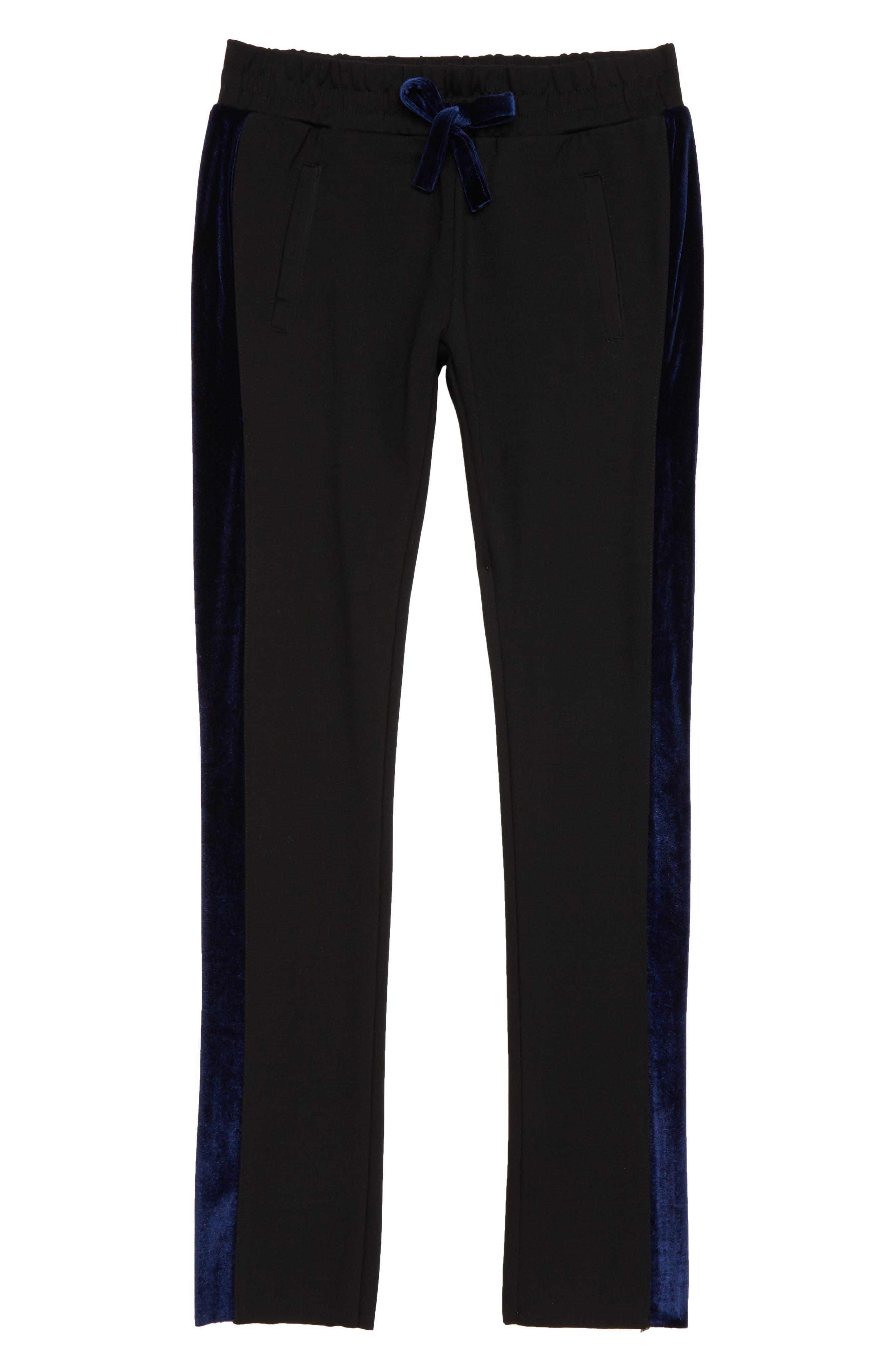 The Kingston Velvet Trim Pants,                         Main,                         color, EBONY