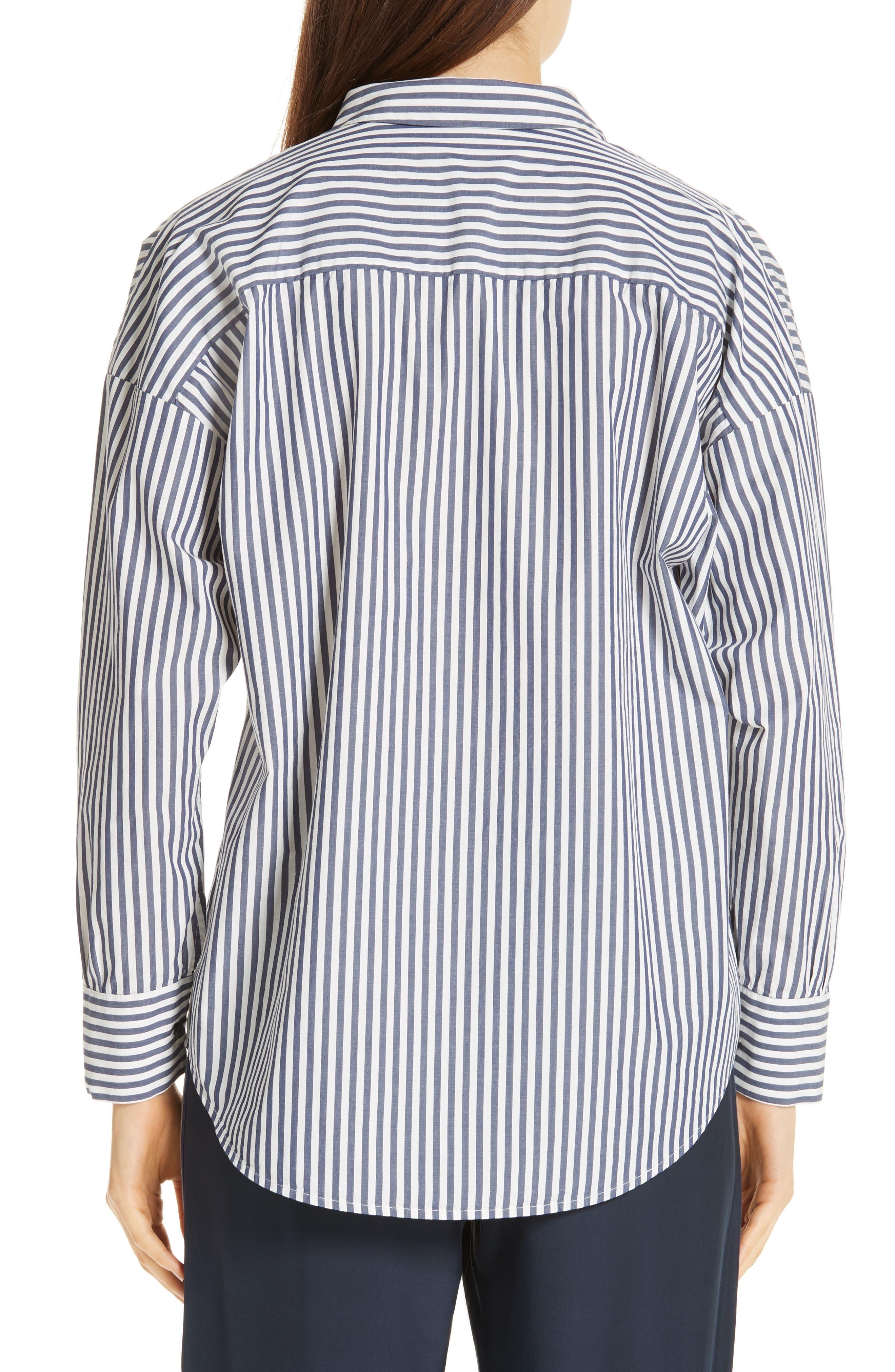 Railroad Stripe Boyfriend Shirt,                             Alternate thumbnail 2, color,                             NAVY/ WHITE