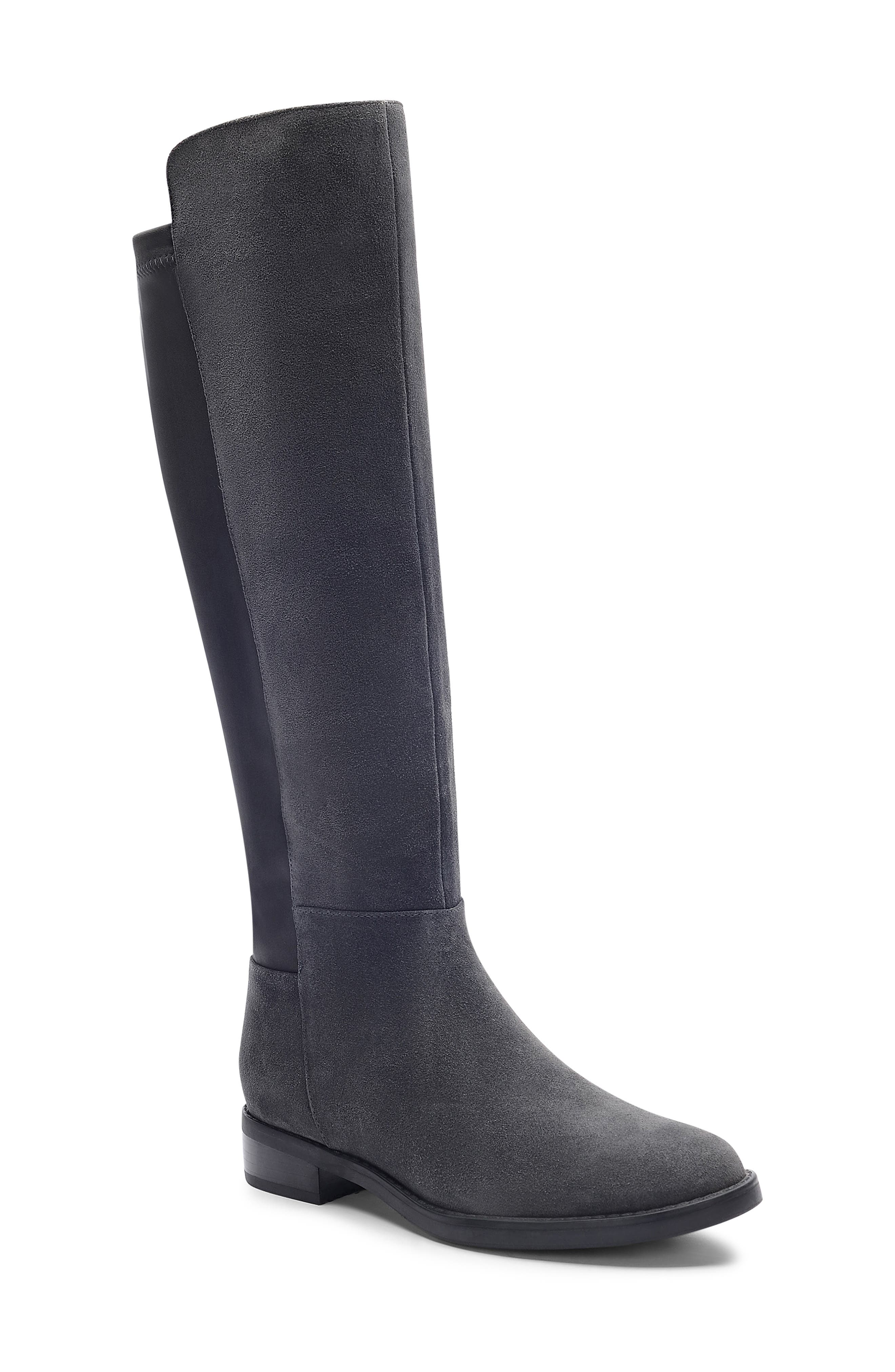 Ellie Waterproof Knee High Riding Boot,                             Main thumbnail 1, color,                             DARK GREY SUEDE