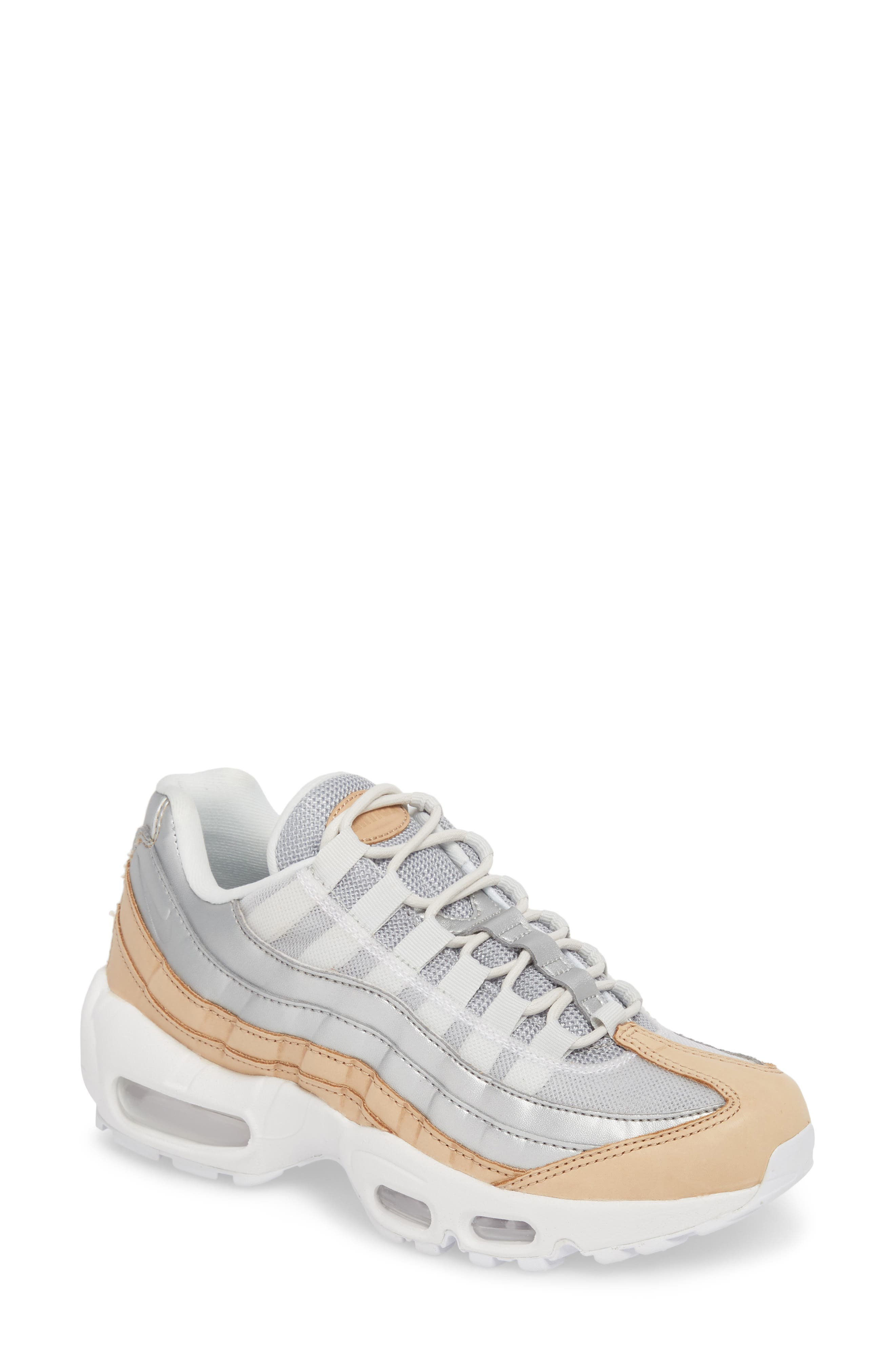 Air Max 95 Special Edition Running Shoe,                             Main thumbnail 1, color,                             PLATINUM/ SILVER/ WHITE