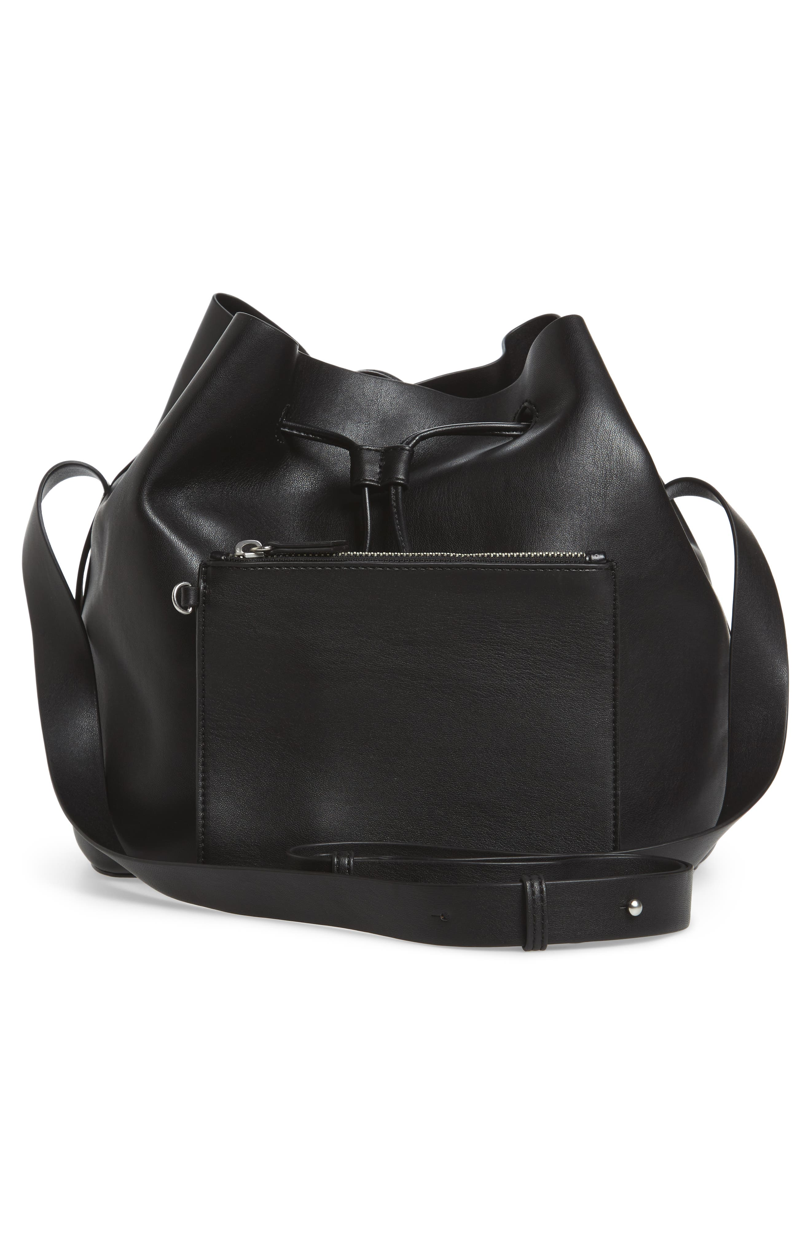 Stella Faux Leather Bucket Bag,                             Alternate thumbnail 3, color,                             001