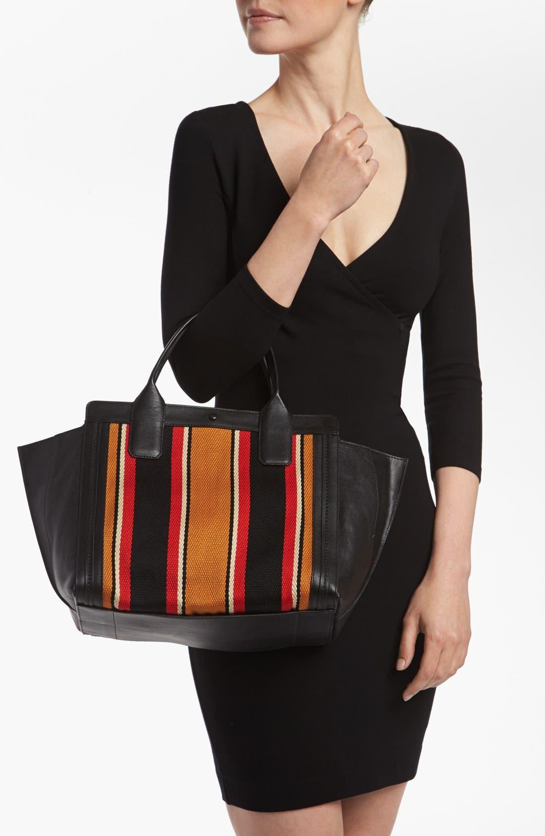 CHLOÉ,                             'Alison - Mini' Stripe Inset Leather Tote,                             Alternate thumbnail 2, color,                             840