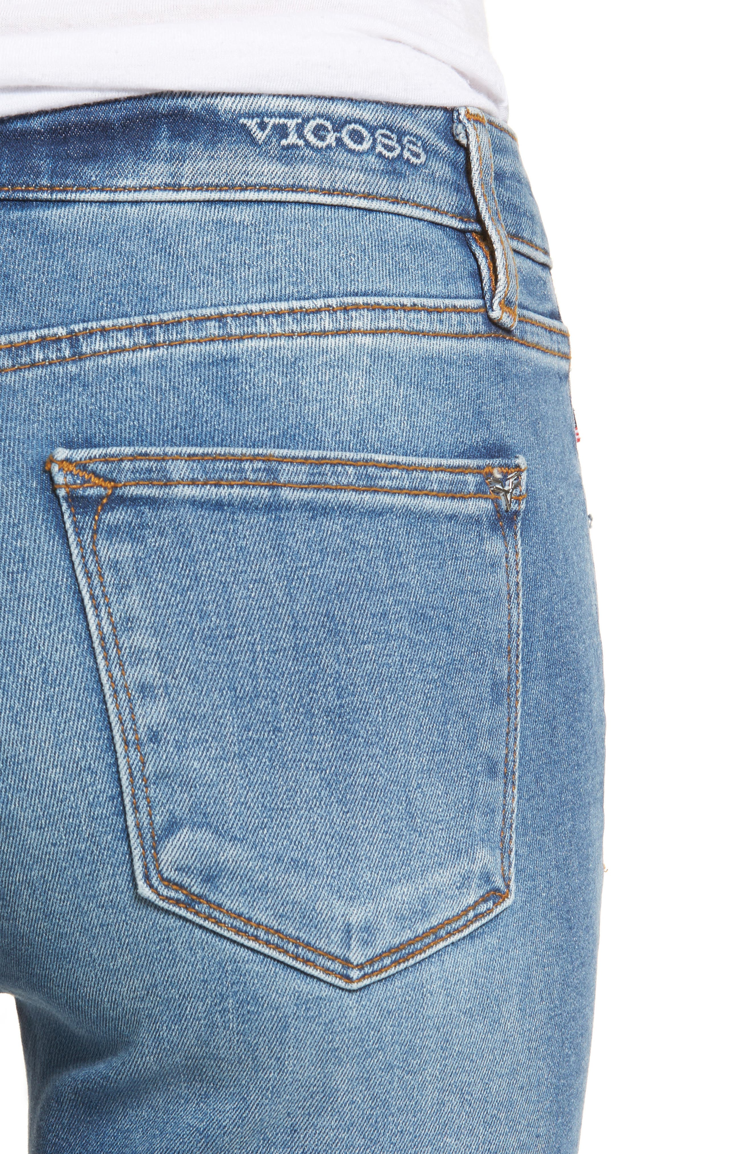 Marley Raw Hem Super Skinny Jeans,                             Alternate thumbnail 4, color,                             461