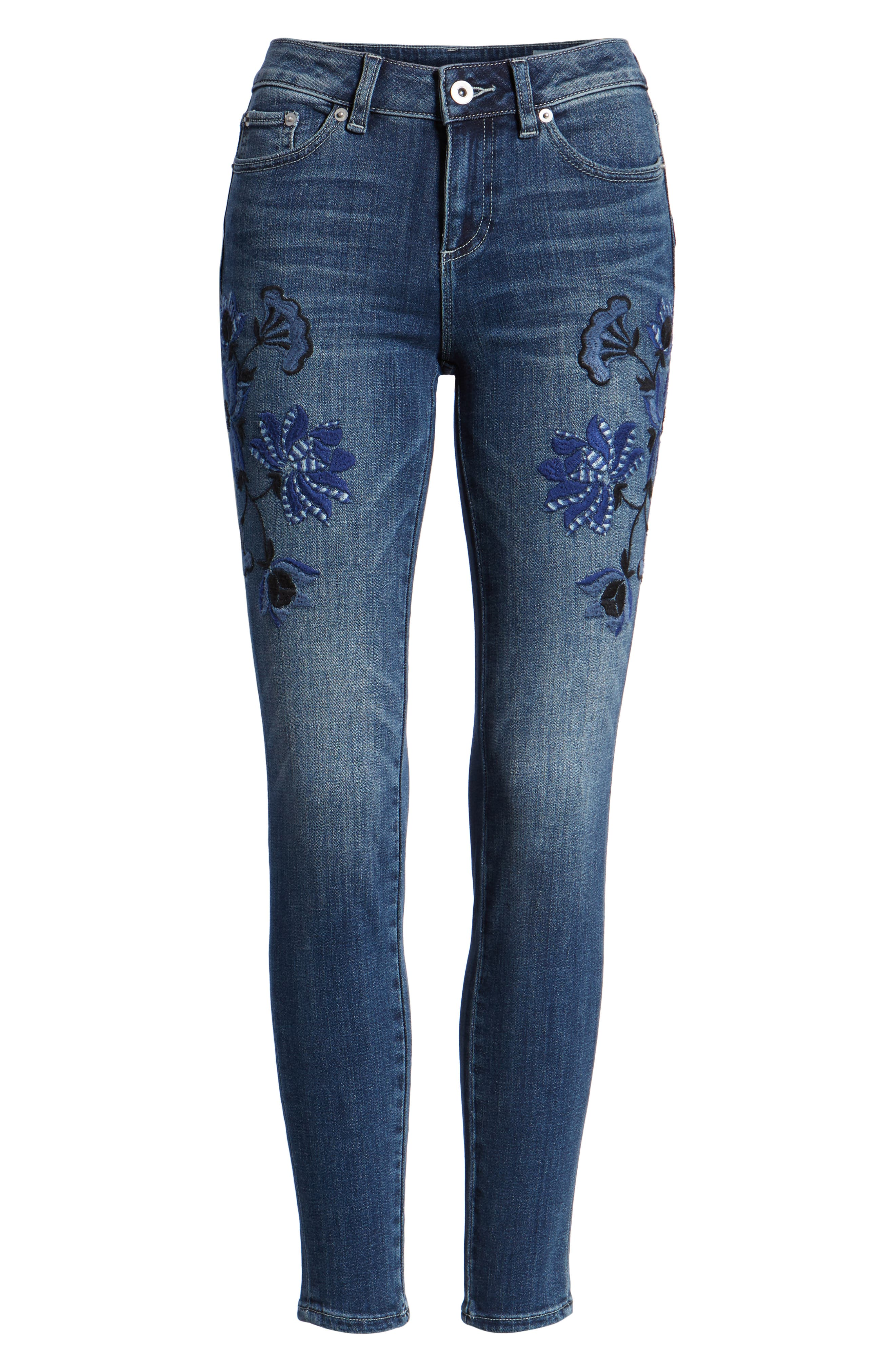 Floral Embroidered Skinny Jeans,                             Alternate thumbnail 7, color,                             464
