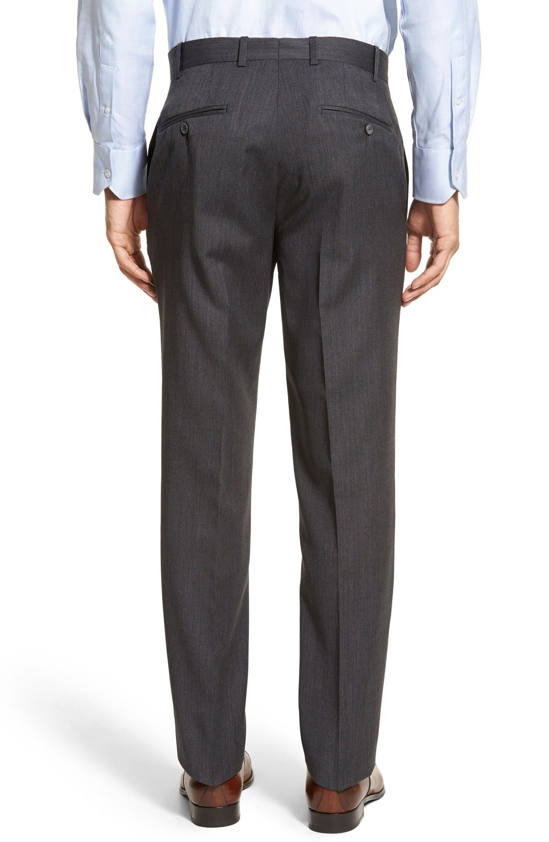 Torino Flat Front Solid Wool Trousers,                             Alternate thumbnail 4, color,                             020
