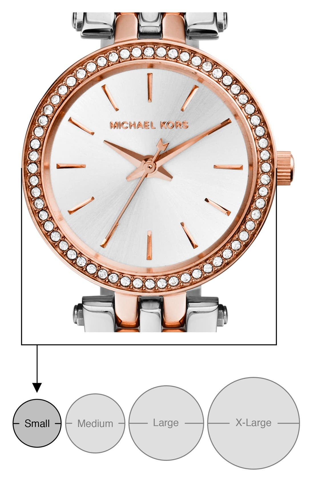 'Petite Darci' Crystal Bezel Bracelet Watch, 26mm,                             Alternate thumbnail 6, color,                             SILVER/ ROSE GOLD