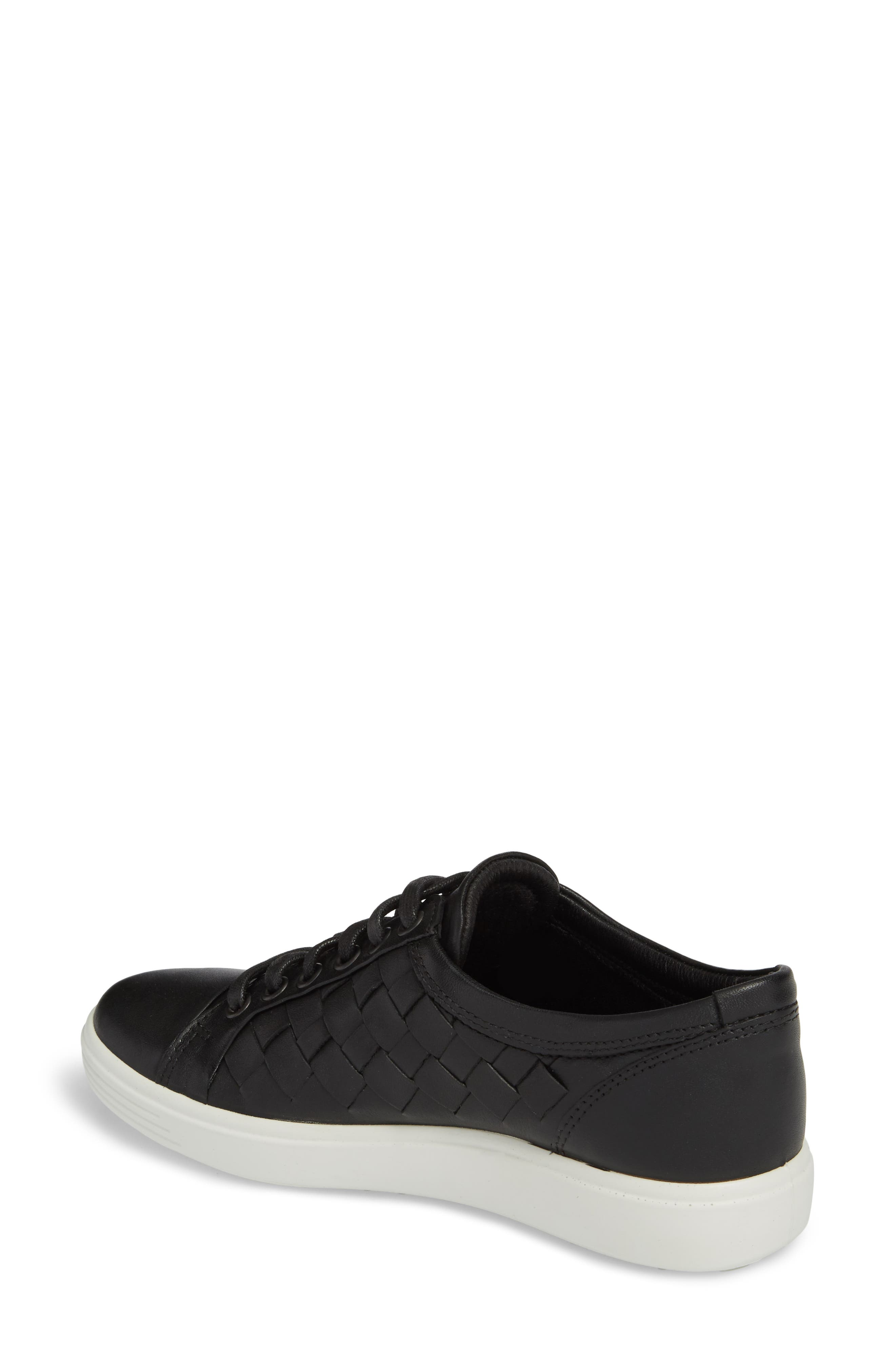 ECCO,                             Soft 7 Woven Sneaker,                             Alternate thumbnail 2, color,                             BLACK LEATHER