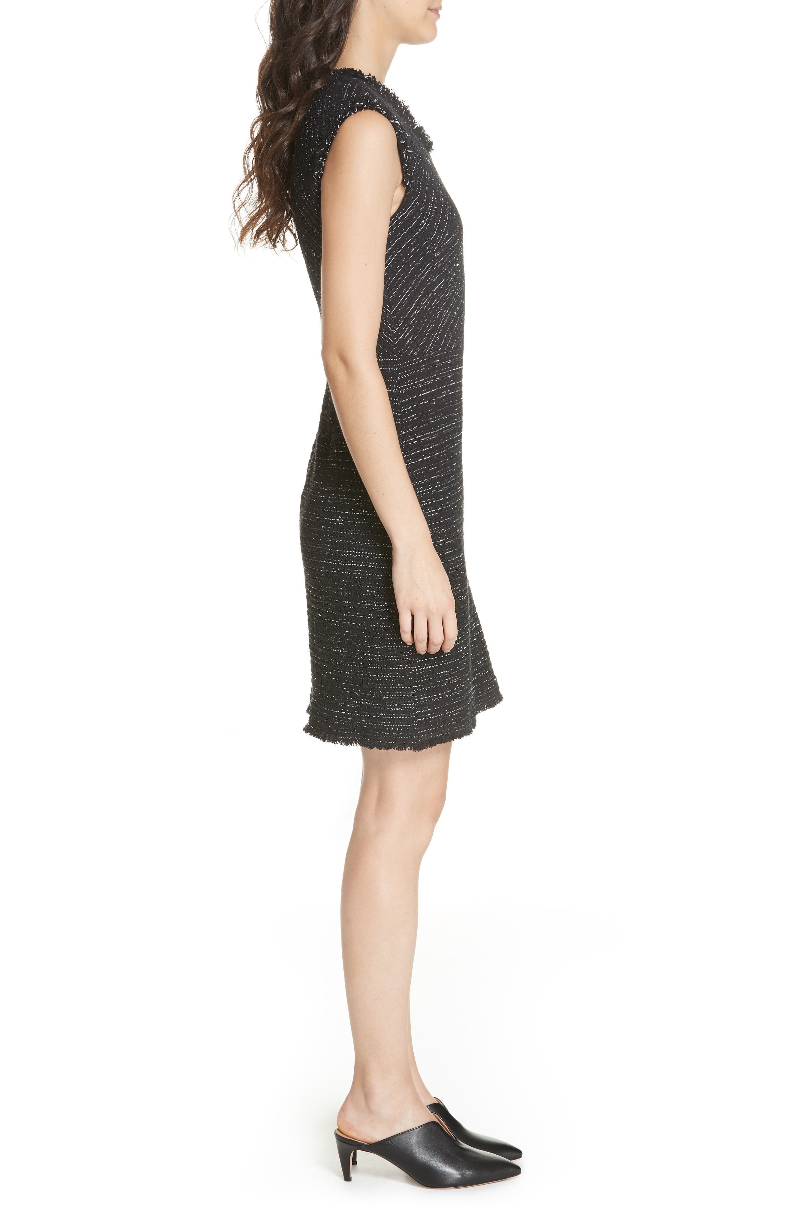 Stretch Cotton Blend Tweed Sheath Dress,                             Alternate thumbnail 3, color,                             BLACK COMBO