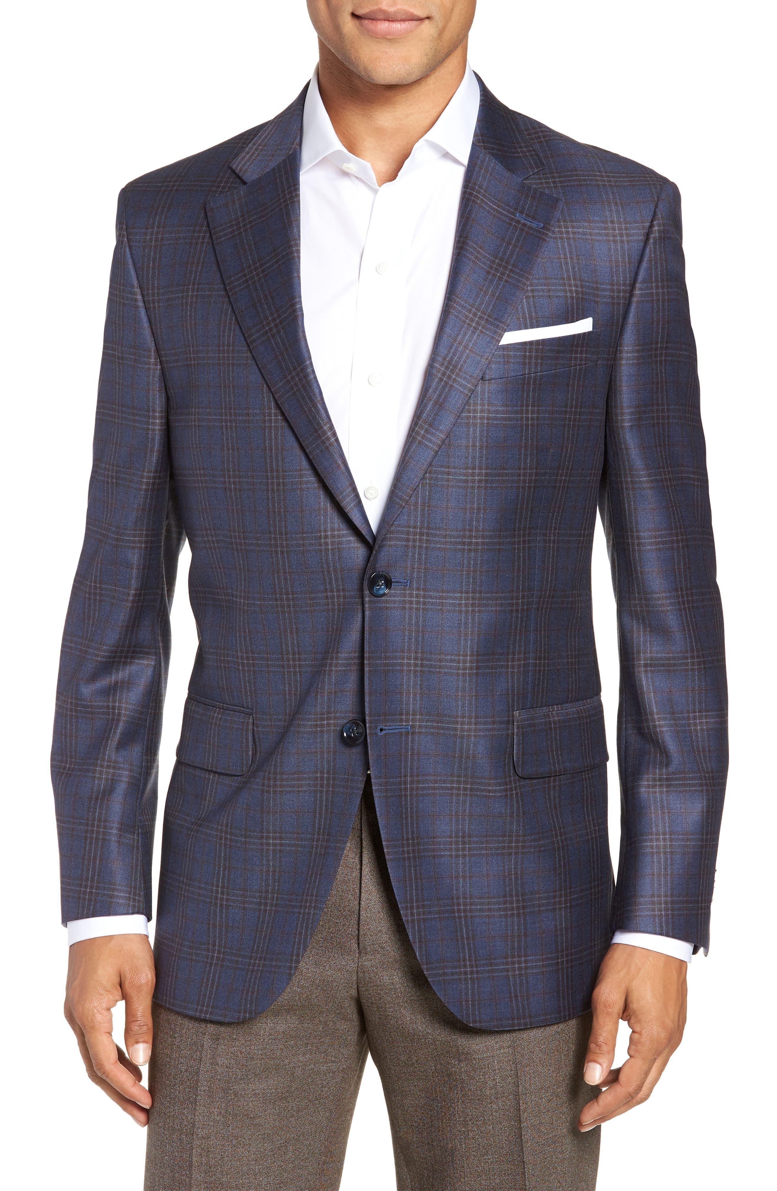 Flynn Classic Fit Plaid Wool Sport Coat,                             Main thumbnail 1, color,                             BLUE