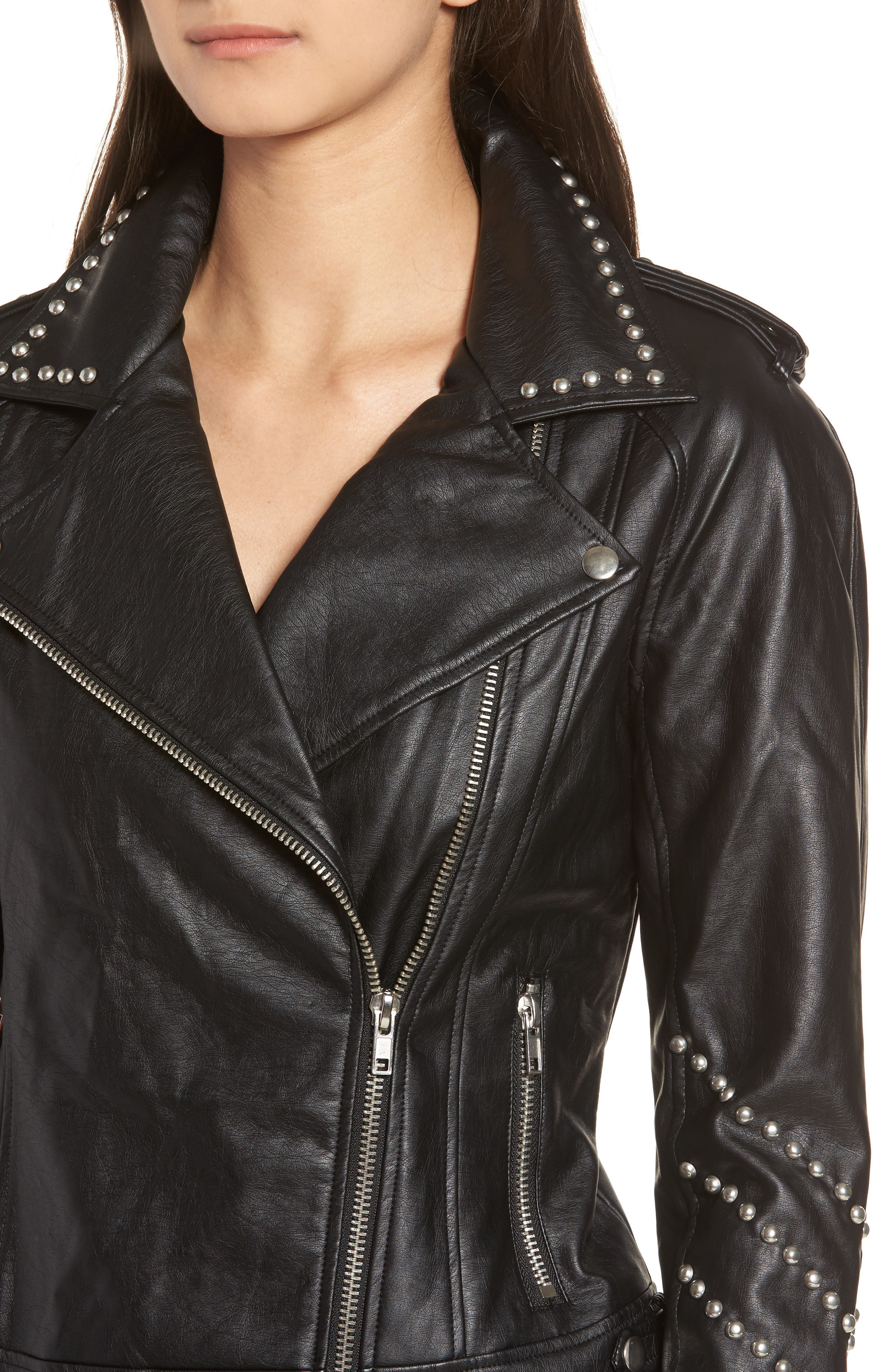Jerilyn Studded Washed Faux Leather Jacket,                             Alternate thumbnail 4, color,                             001