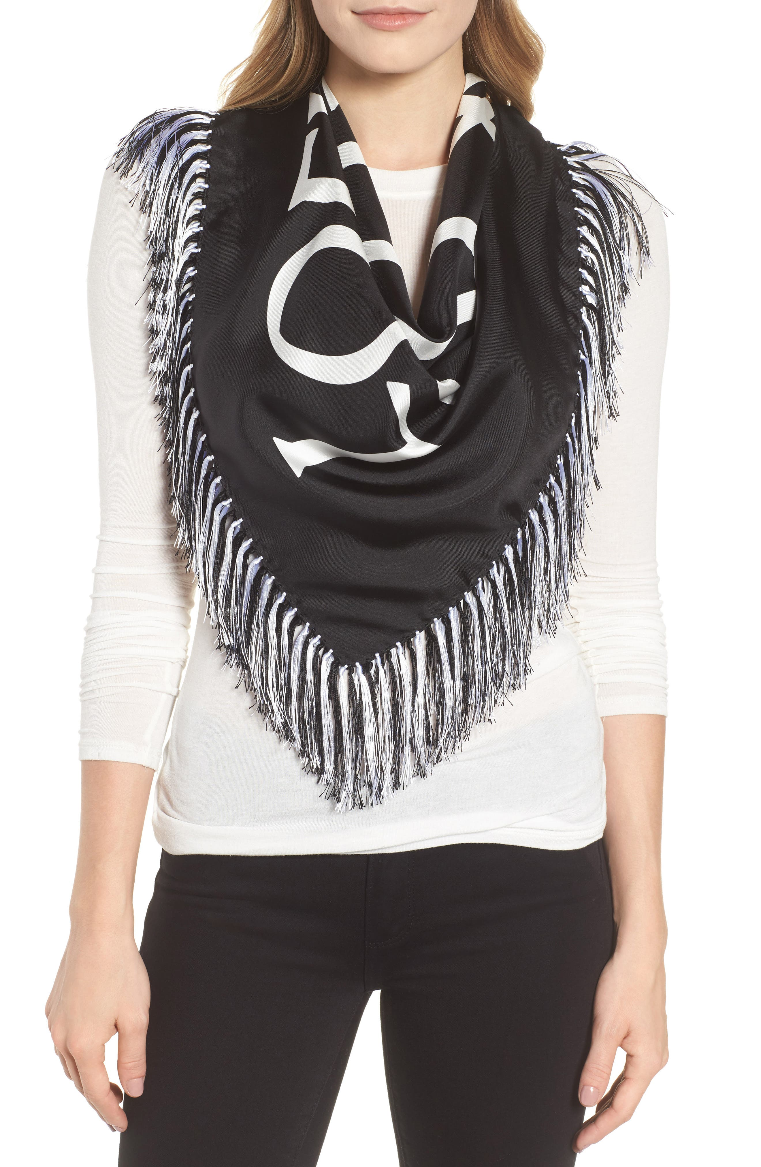Anagram Silk Scarf,                             Main thumbnail 1, color,                             BLACK/ WHITE