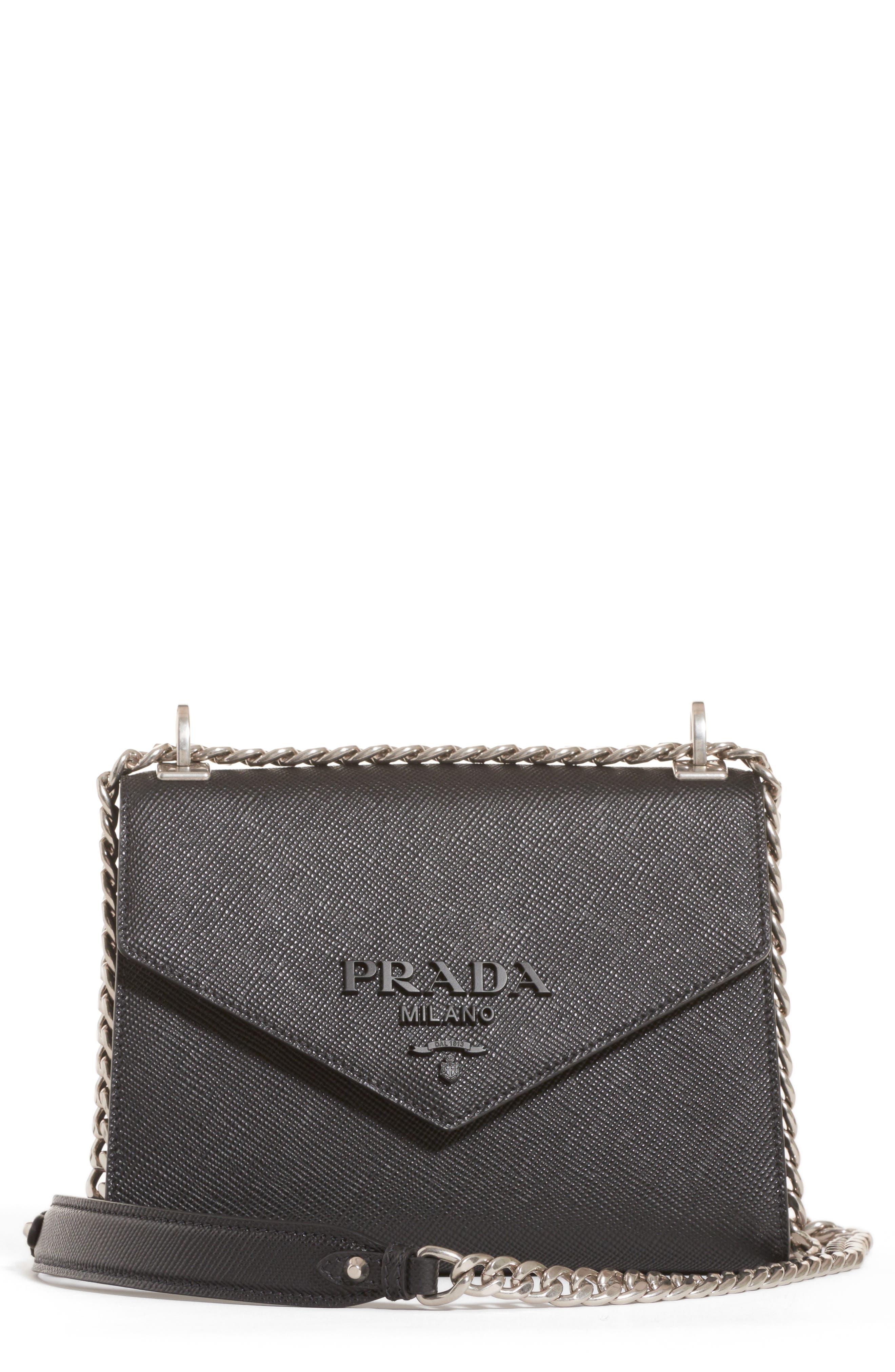 PRADA,                             Monochrome Saffiano Leather Shoulder Bag,                             Main thumbnail 1, color,                             NERO