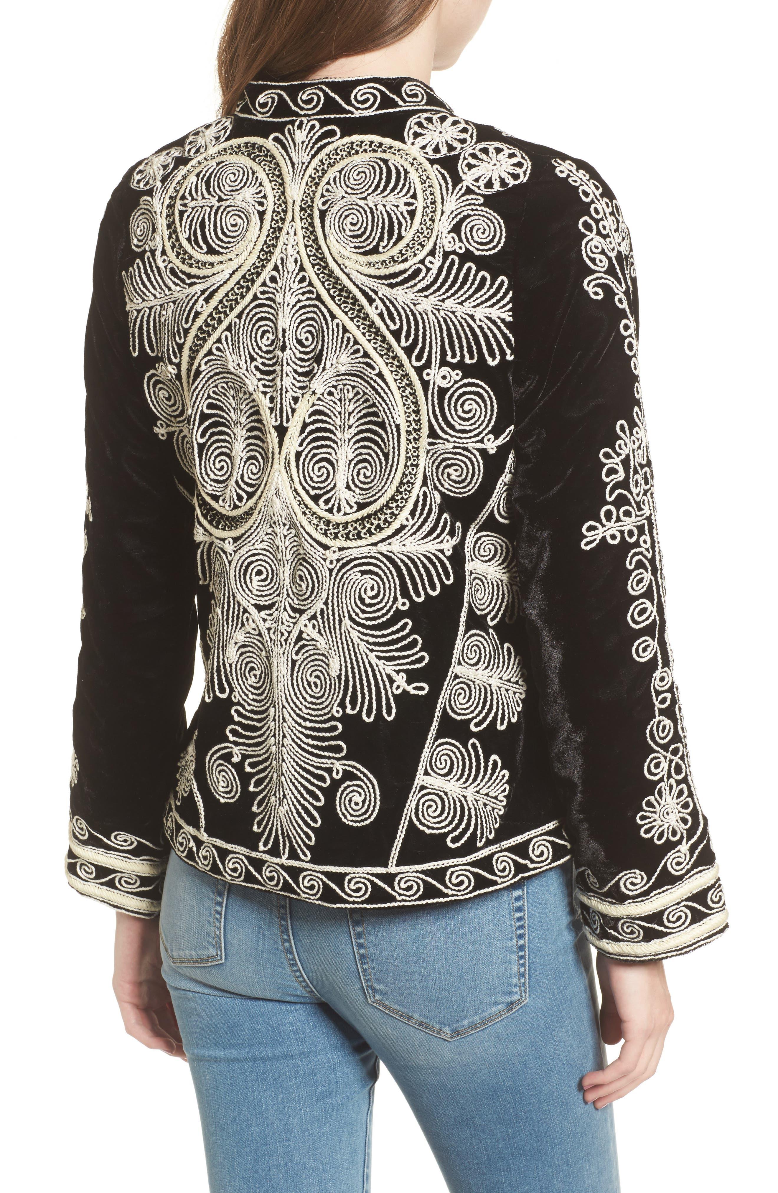 Embroidered Velvet Jacket,                             Alternate thumbnail 2, color,                             001