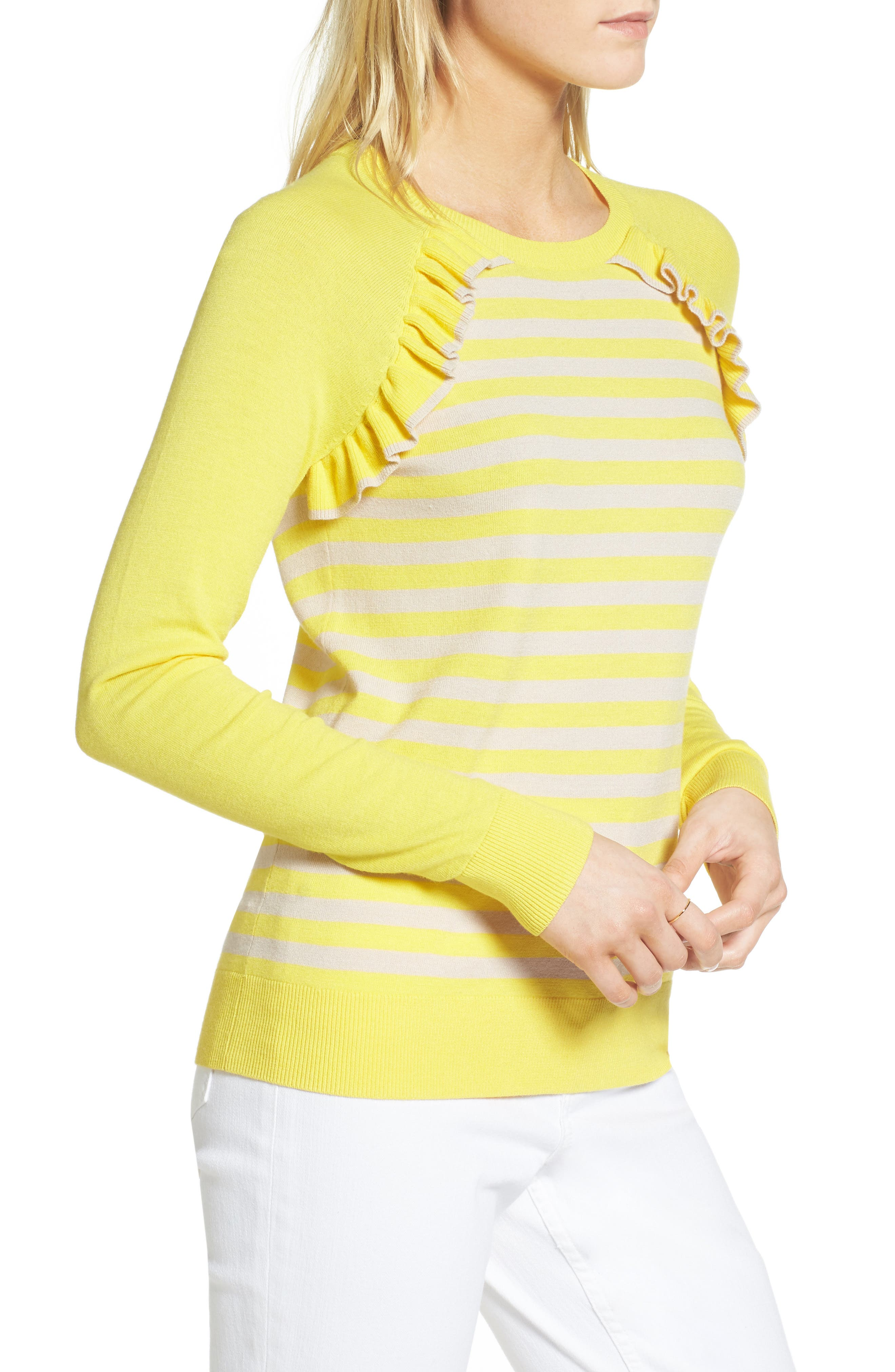 Ruffle Trim Stripe Sweater,                             Alternate thumbnail 9, color,
