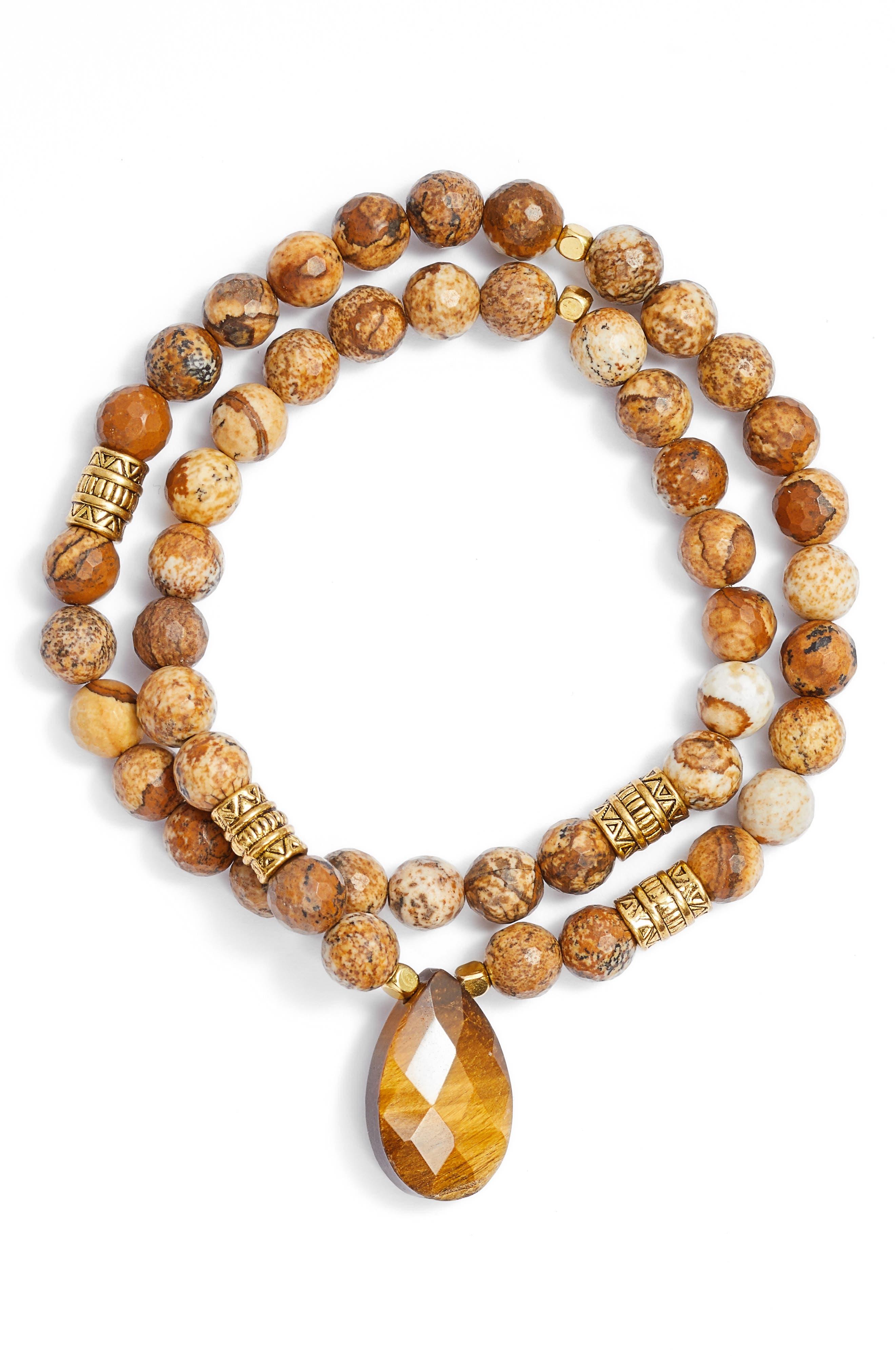 Inca Double Stretch Stone Bracelet,                             Main thumbnail 3, color,