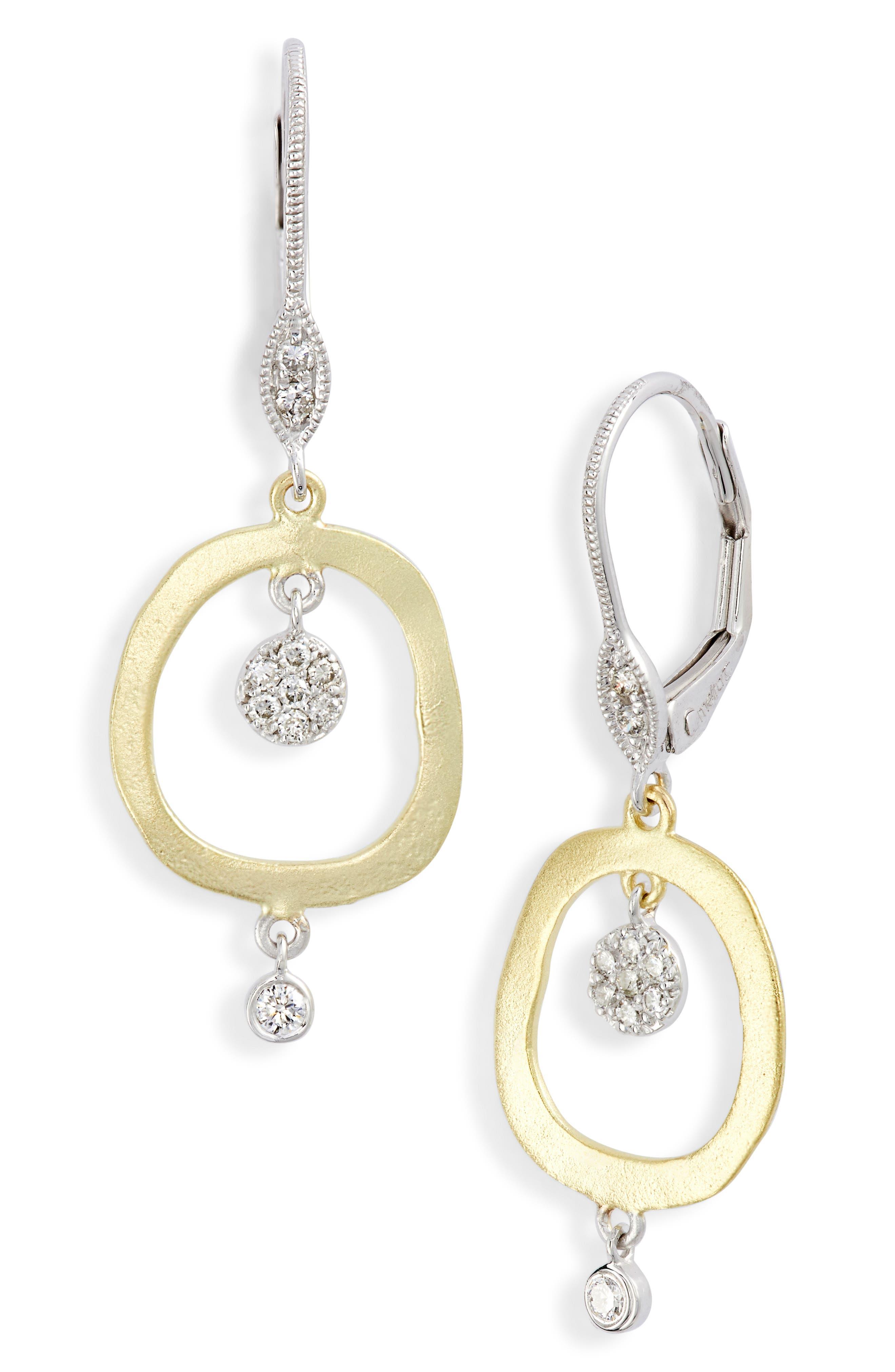 MEIRA T Brushed Gold & Diamond Drop Earrings in Gold/ Diamond