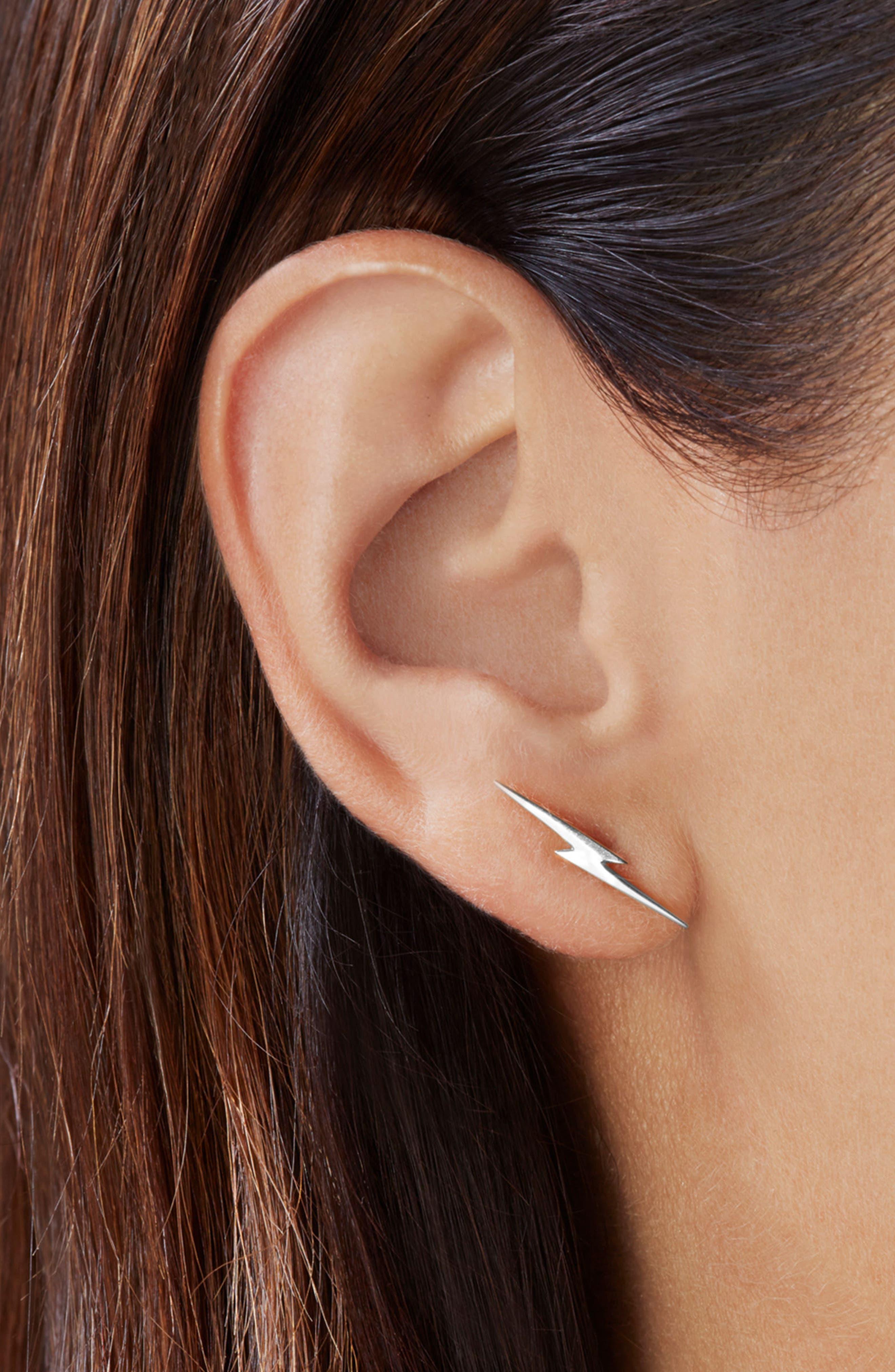 Sterling Silver Bolt Earrings,                             Alternate thumbnail 2, color,                             040