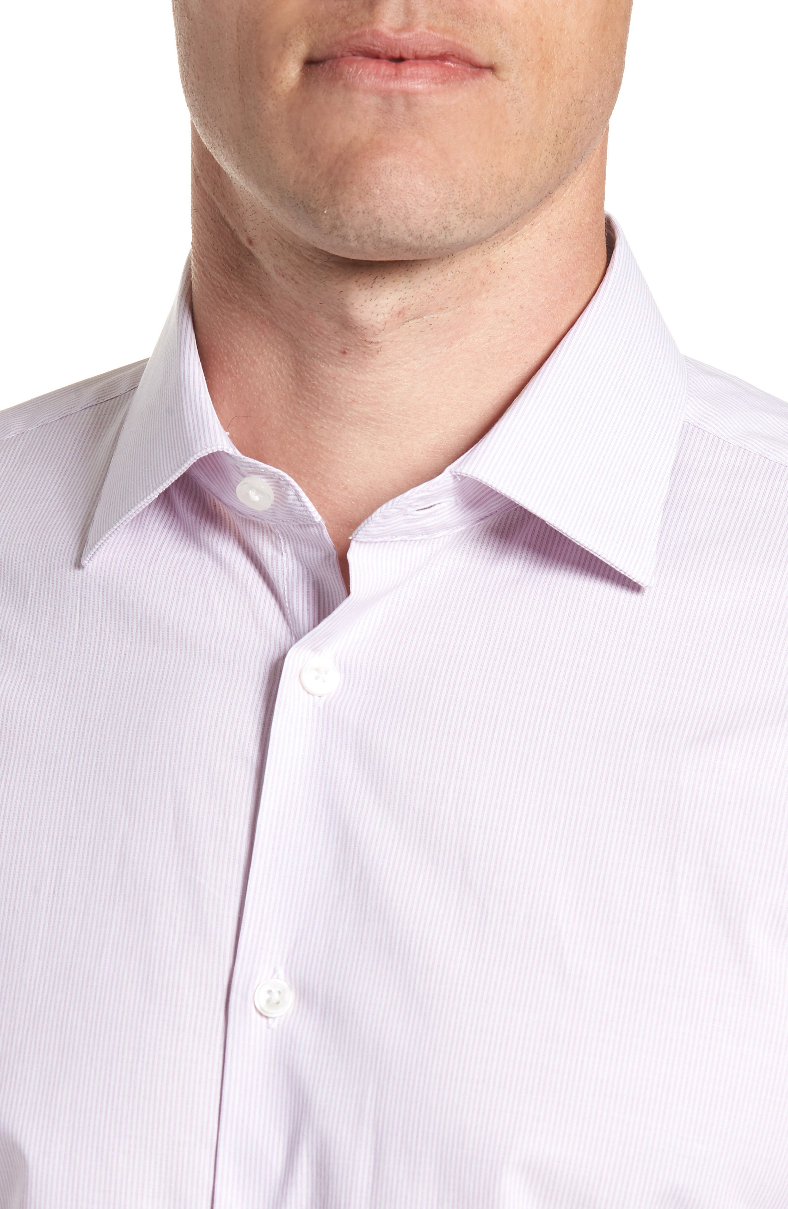 Stripe Regular Fit Dress Shirt,                             Alternate thumbnail 2, color,                             GRAPE