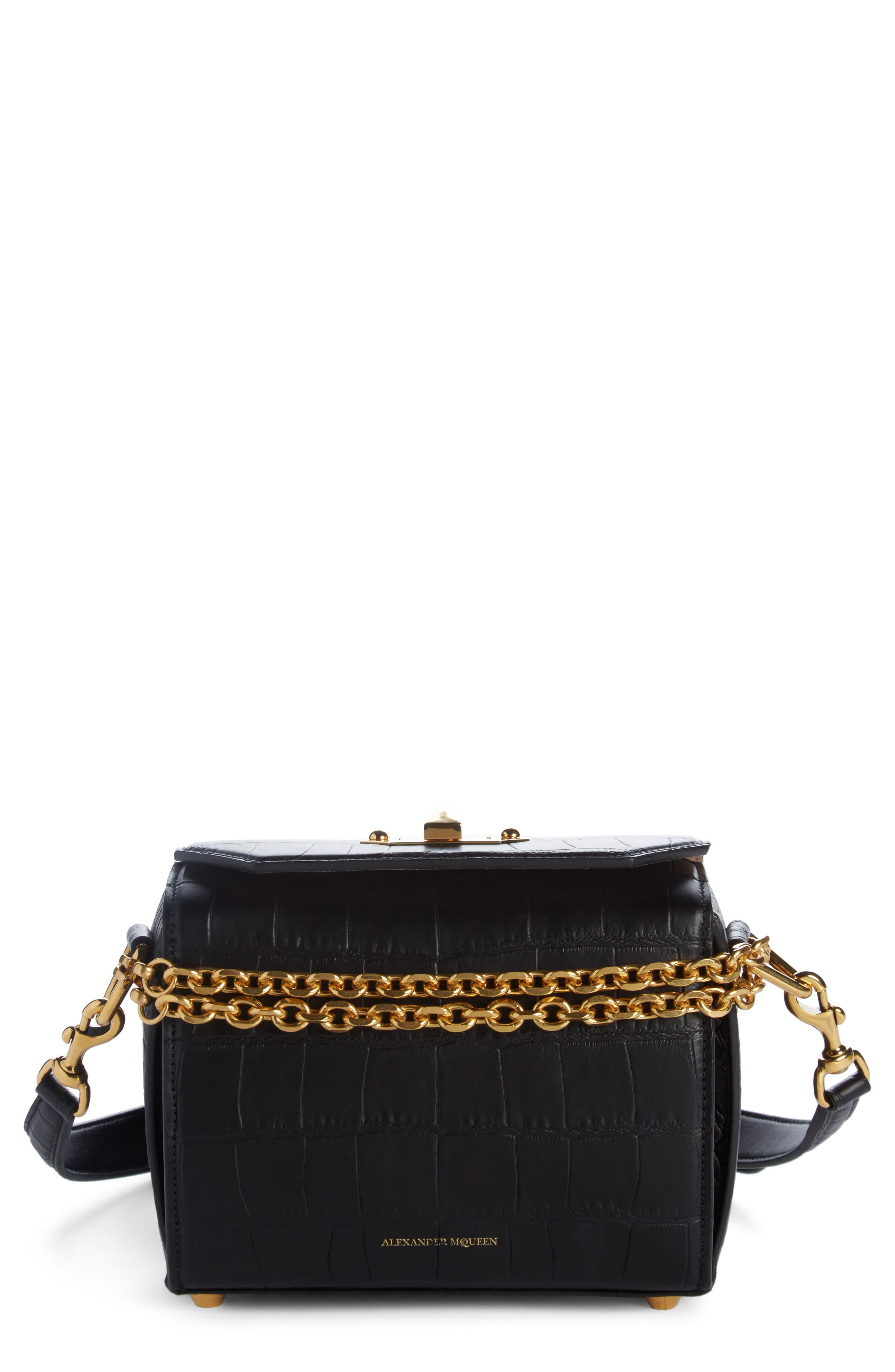Box Bag 19 Croc Embossed Leather Bag,                         Main,                         color,