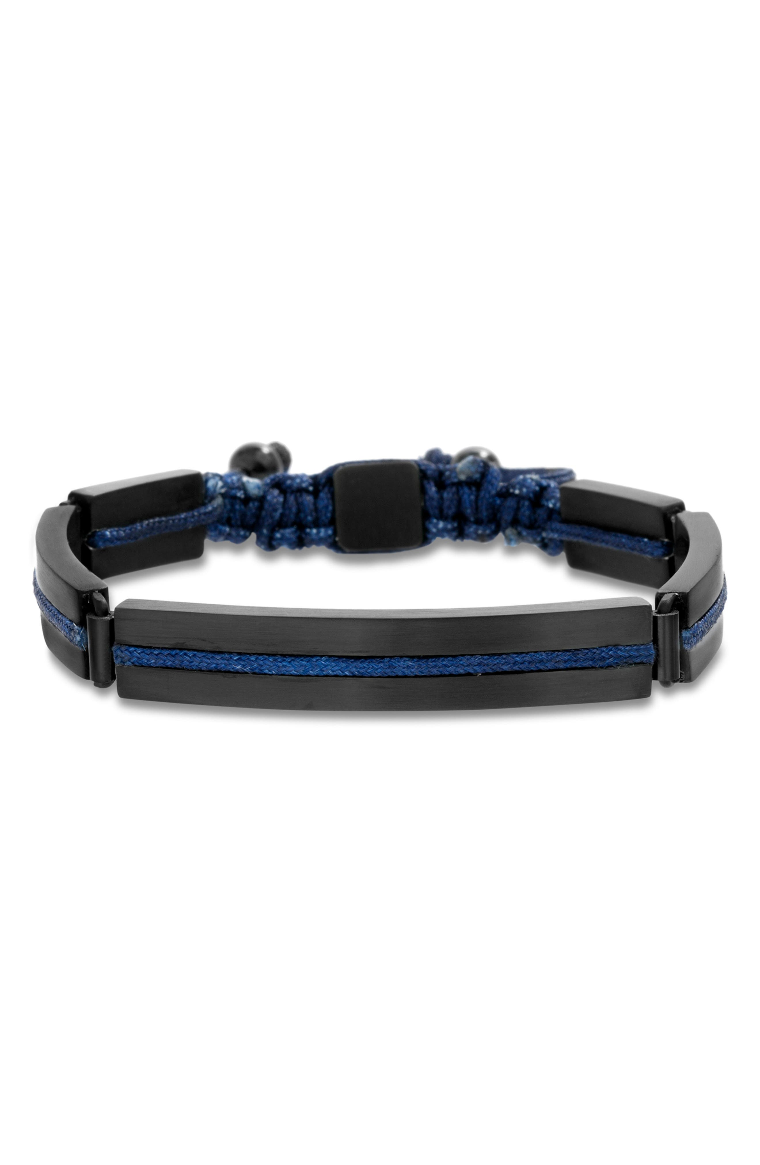 BEN SHERMAN Steel Cord Adjustable Bracelet in Blue