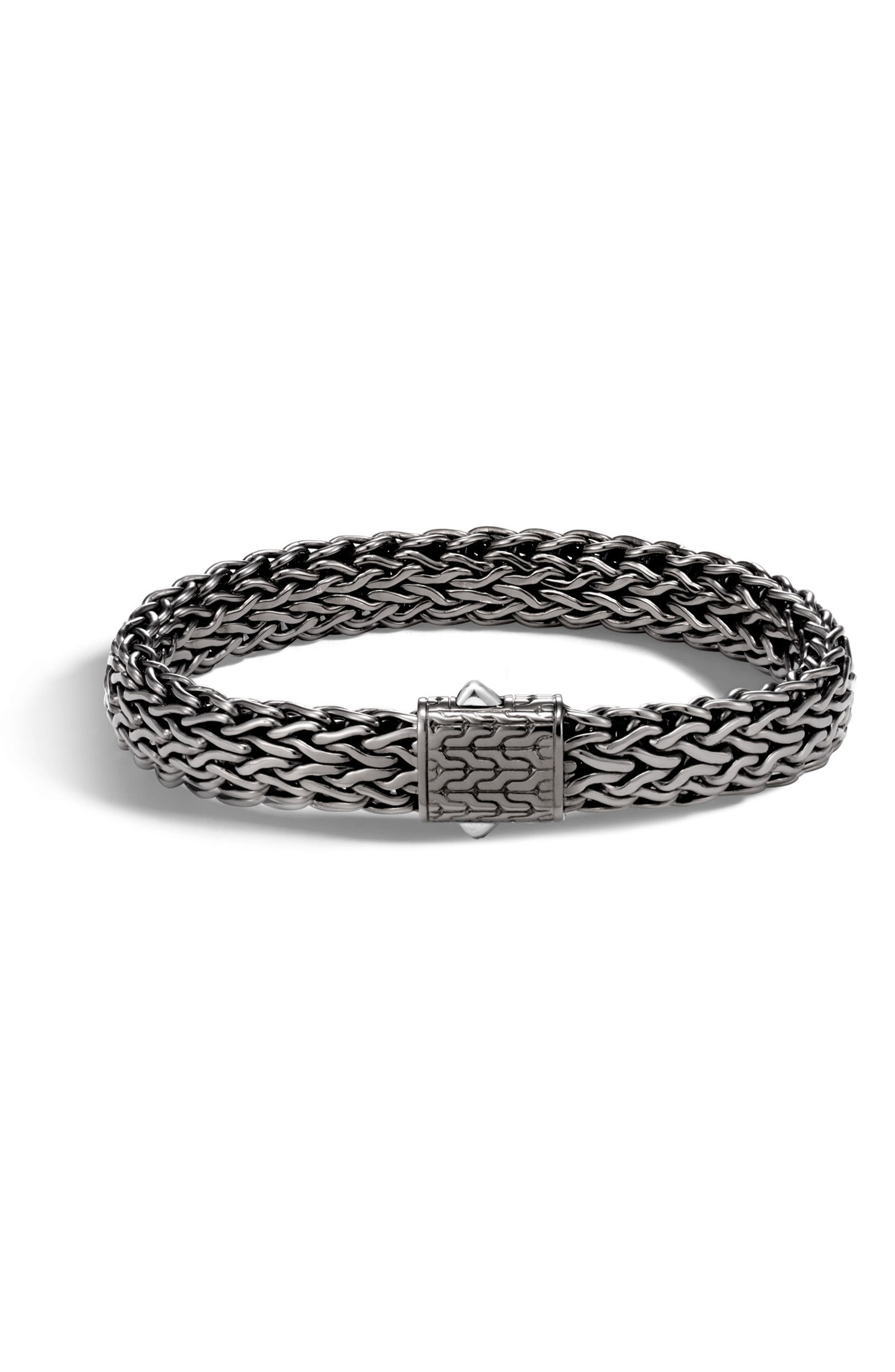 Sterling Silver Classic Chain Matte Black Rhodium Wide Flat Chain Bracelet