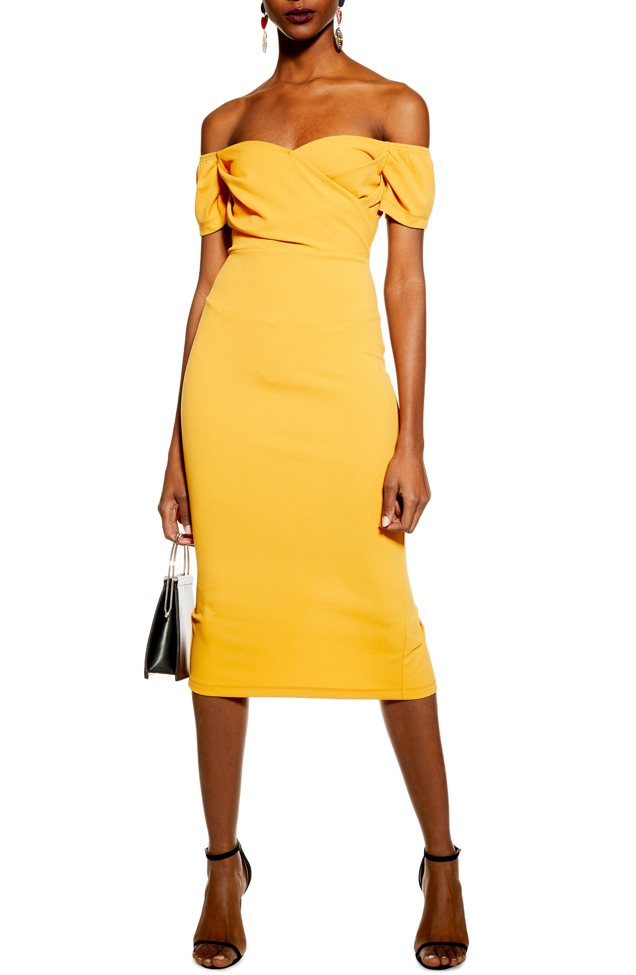 Topshop Off The Shoulder Wrap Midi Dress, US (fits like 2-4) - Orange
