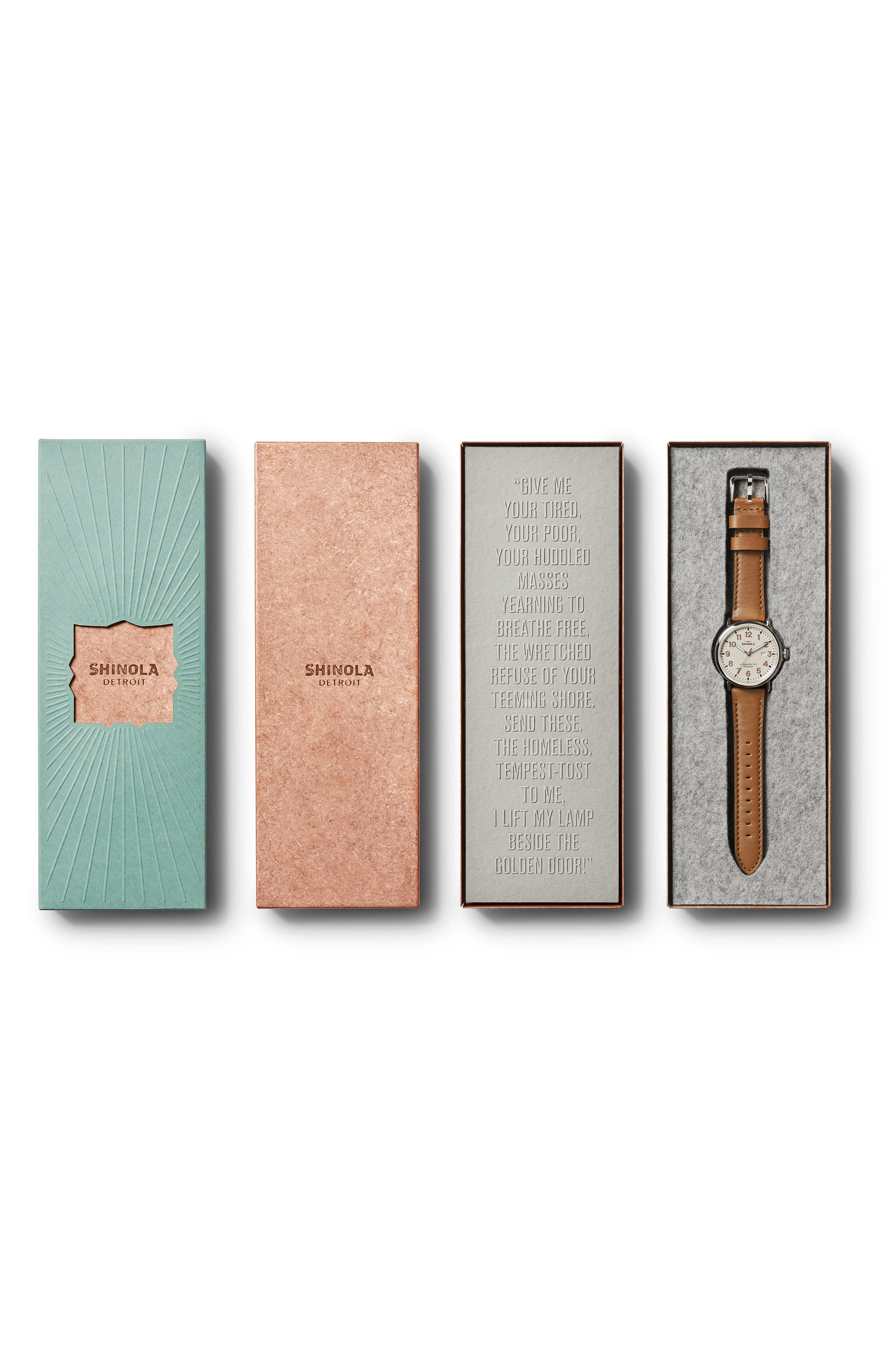The Runwell - Statue of Liberty Leather Strap Watch, 41mm,                             Alternate thumbnail 5, color,                             BROWN/ GREY/ SILVER