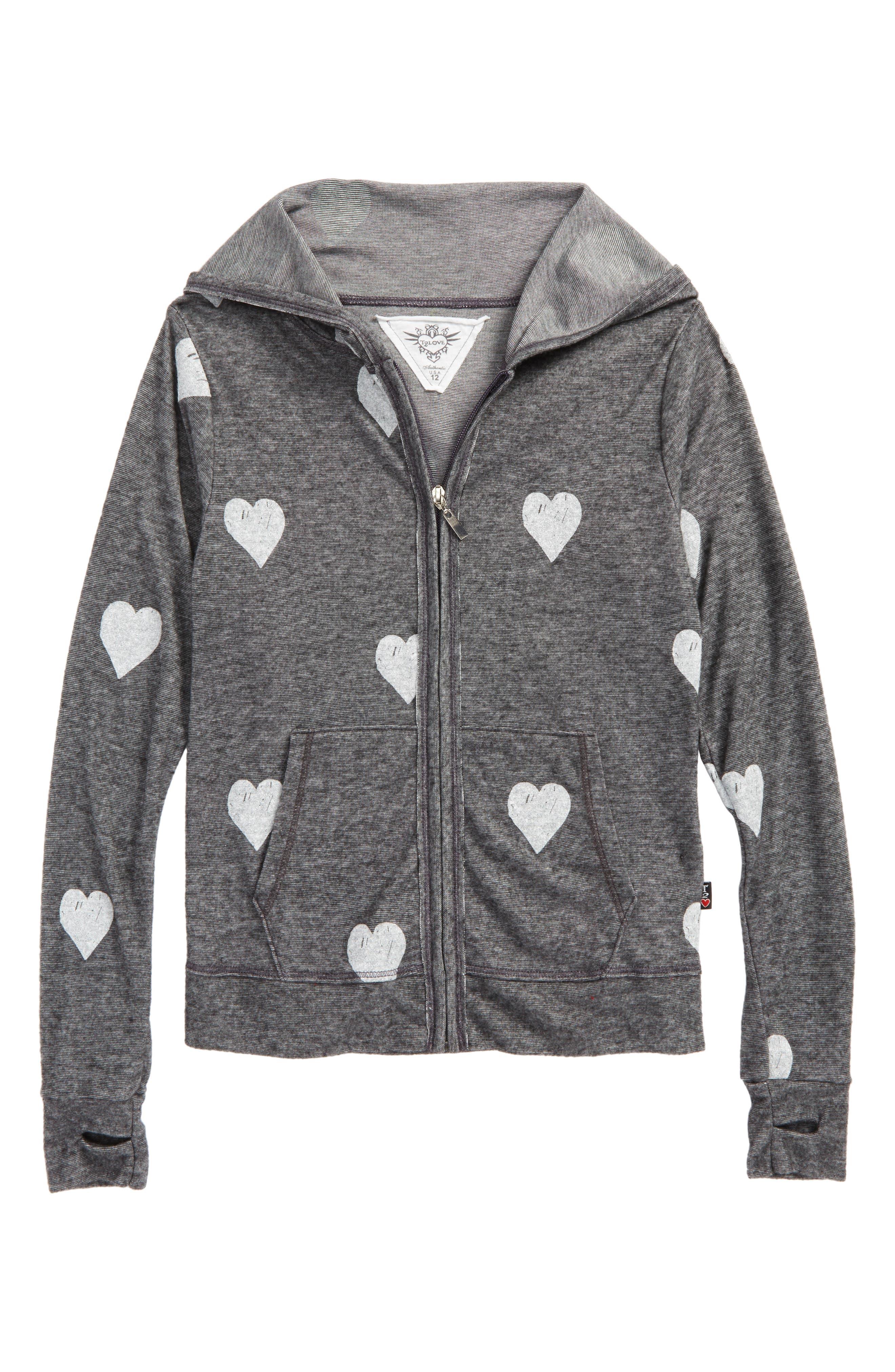 Allover Heart Zip Hoodie,                         Main,                         color, 020