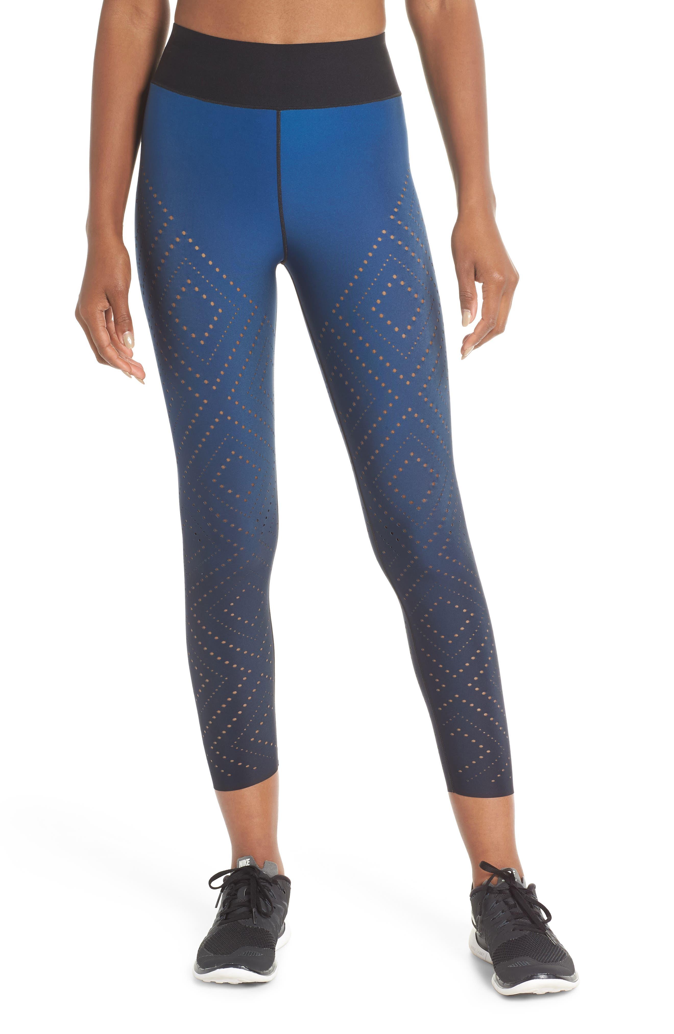 Sprinter High Argyle Pixelate Leggings,                         Main,                         color, GRADIENT SAPPHIRE