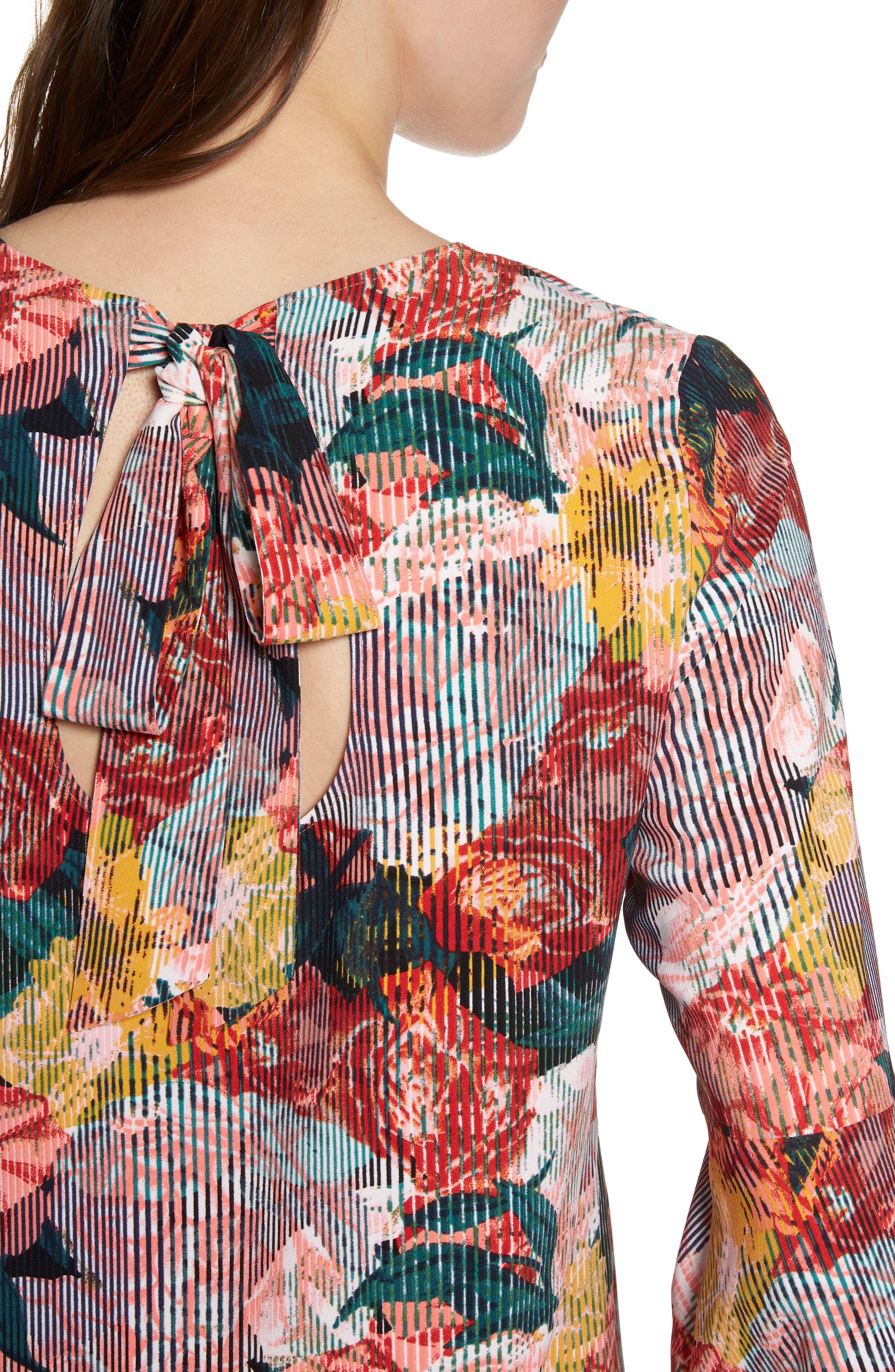 Bow Back Print Flare Sleeve Tunic,                             Alternate thumbnail 23, color,