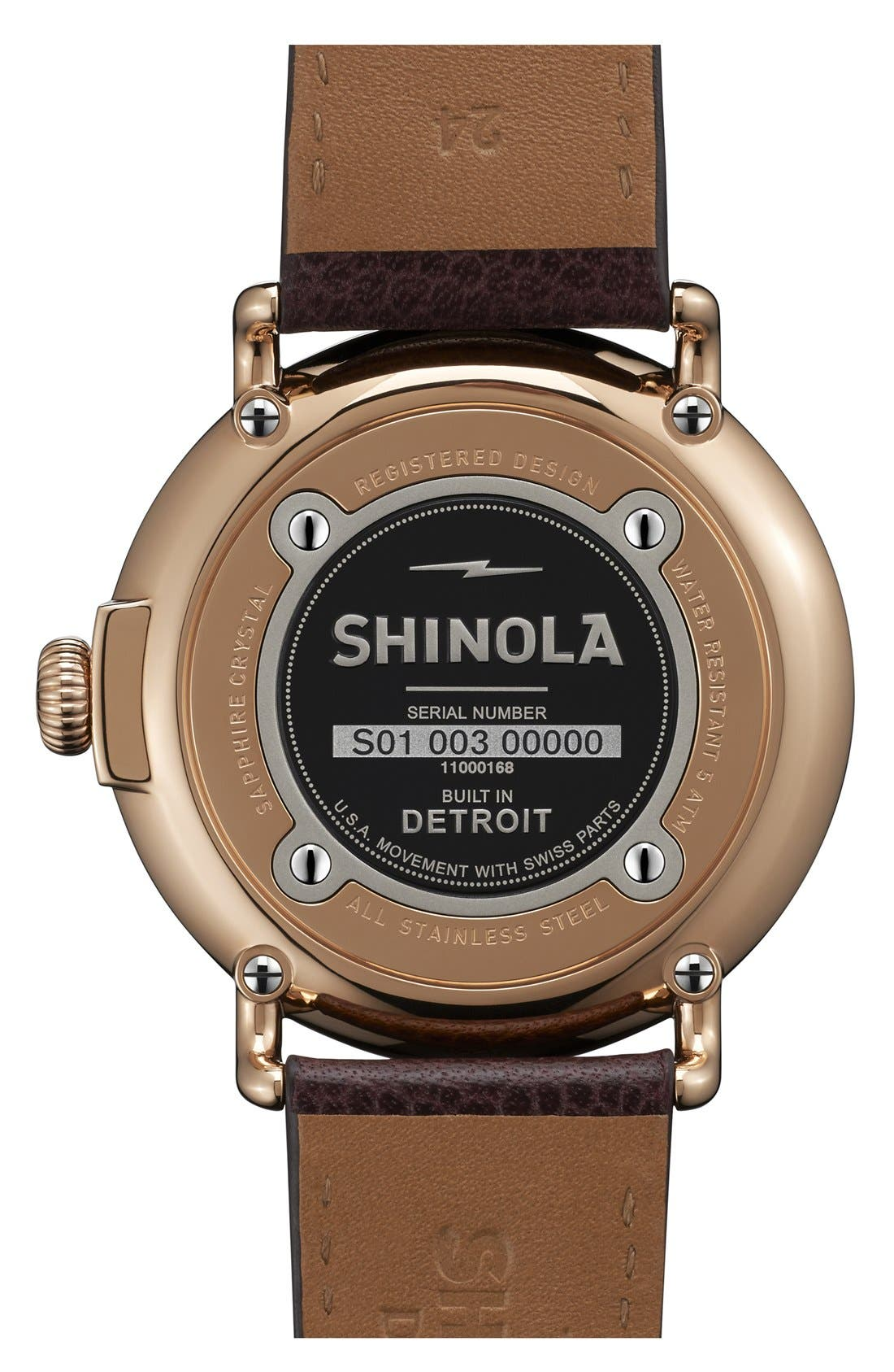 'Runwell' Leather Strap Watch, 47mm,                             Alternate thumbnail 2, color,                             OXBLOOD/ MIDNIGHT BLUE