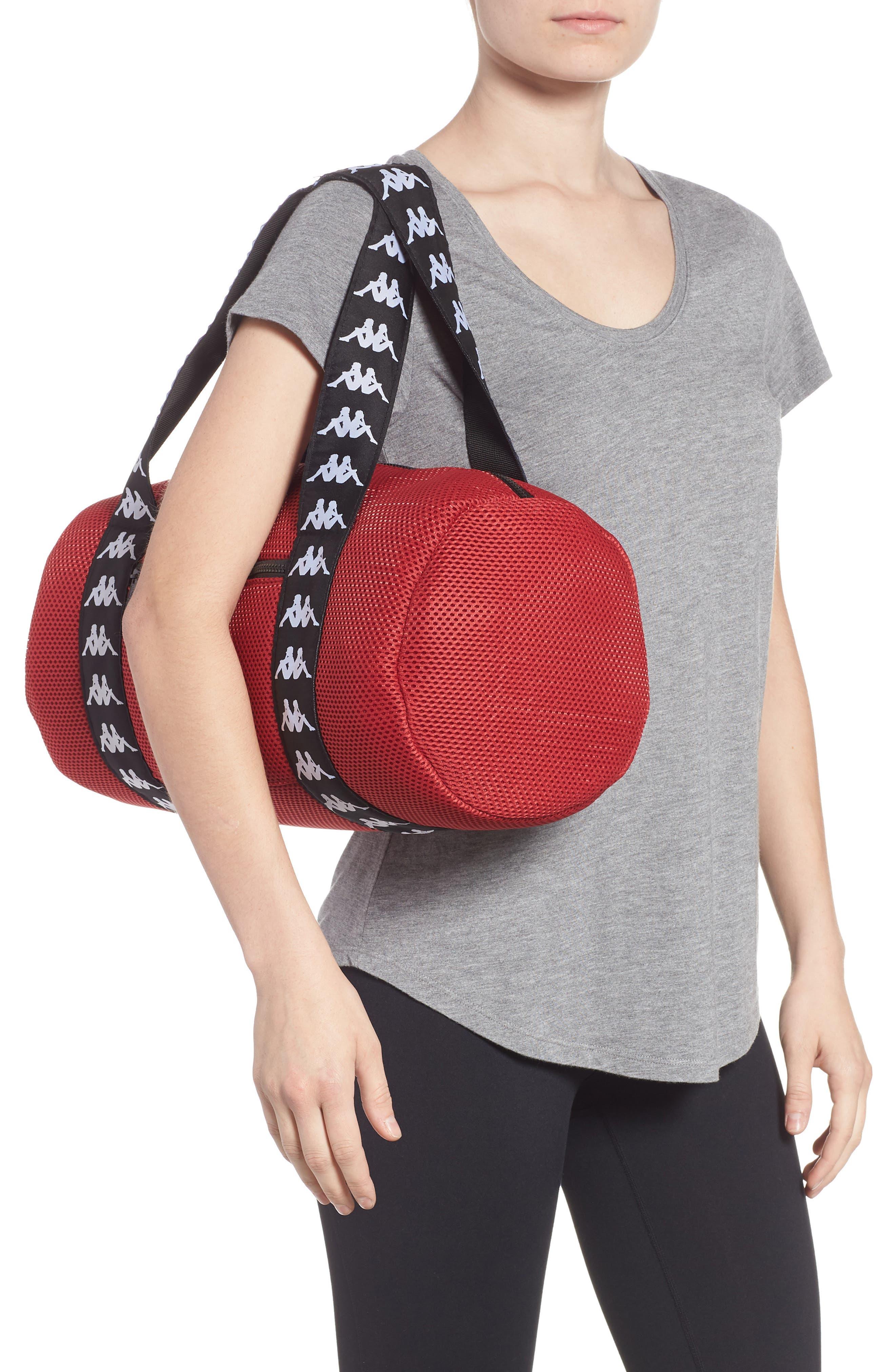 Large Mesh Athletic Duffel Bag,                             Alternate thumbnail 2, color,                             RED DK-BLACK-WHITE