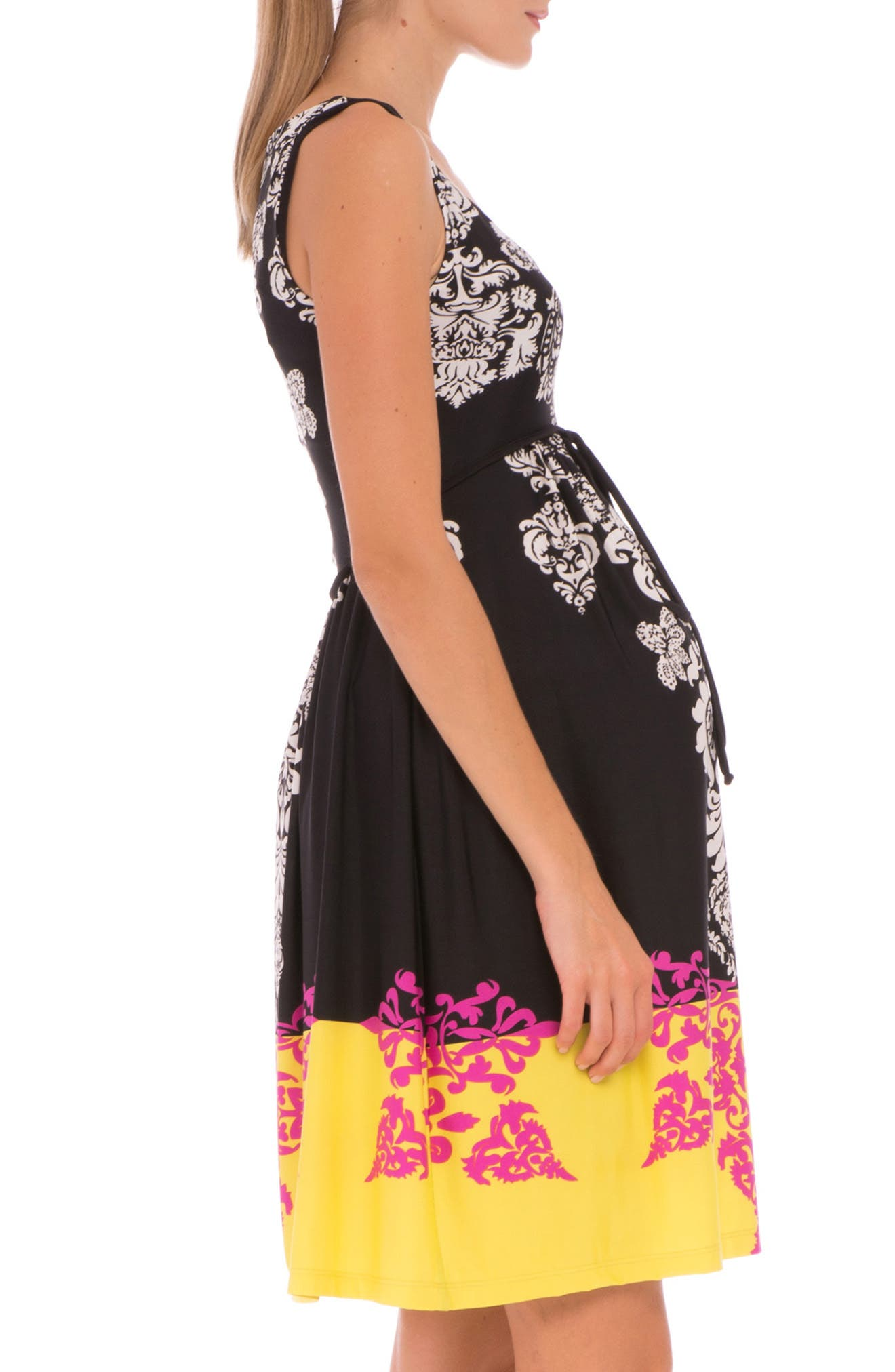 'Eloise' Graphic Maternity Dress,                             Alternate thumbnail 3, color,                             BLACK/ YELLOW PRINT