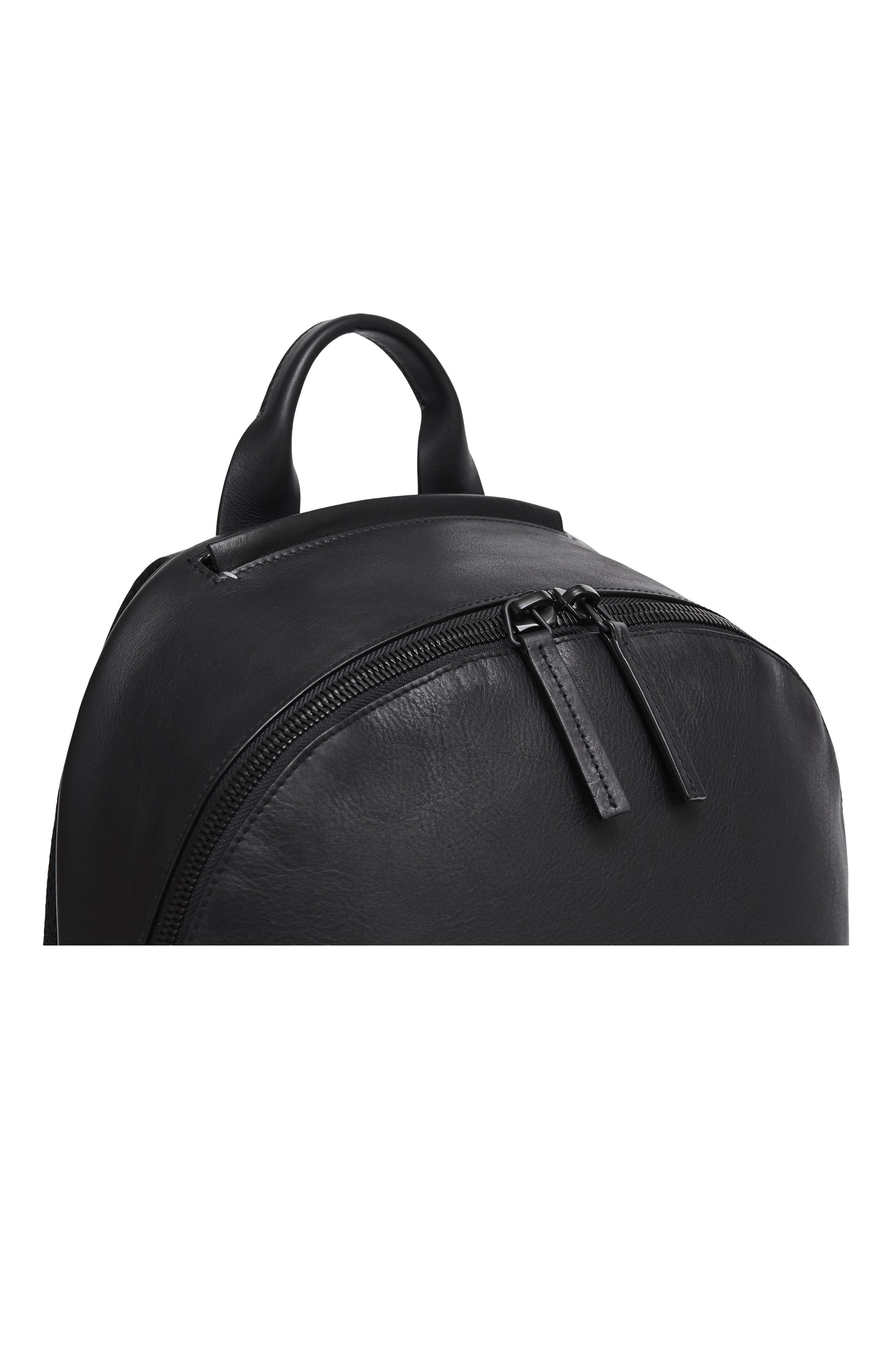 Leather Backpack,                             Alternate thumbnail 10, color,                             BLACK LEATHER