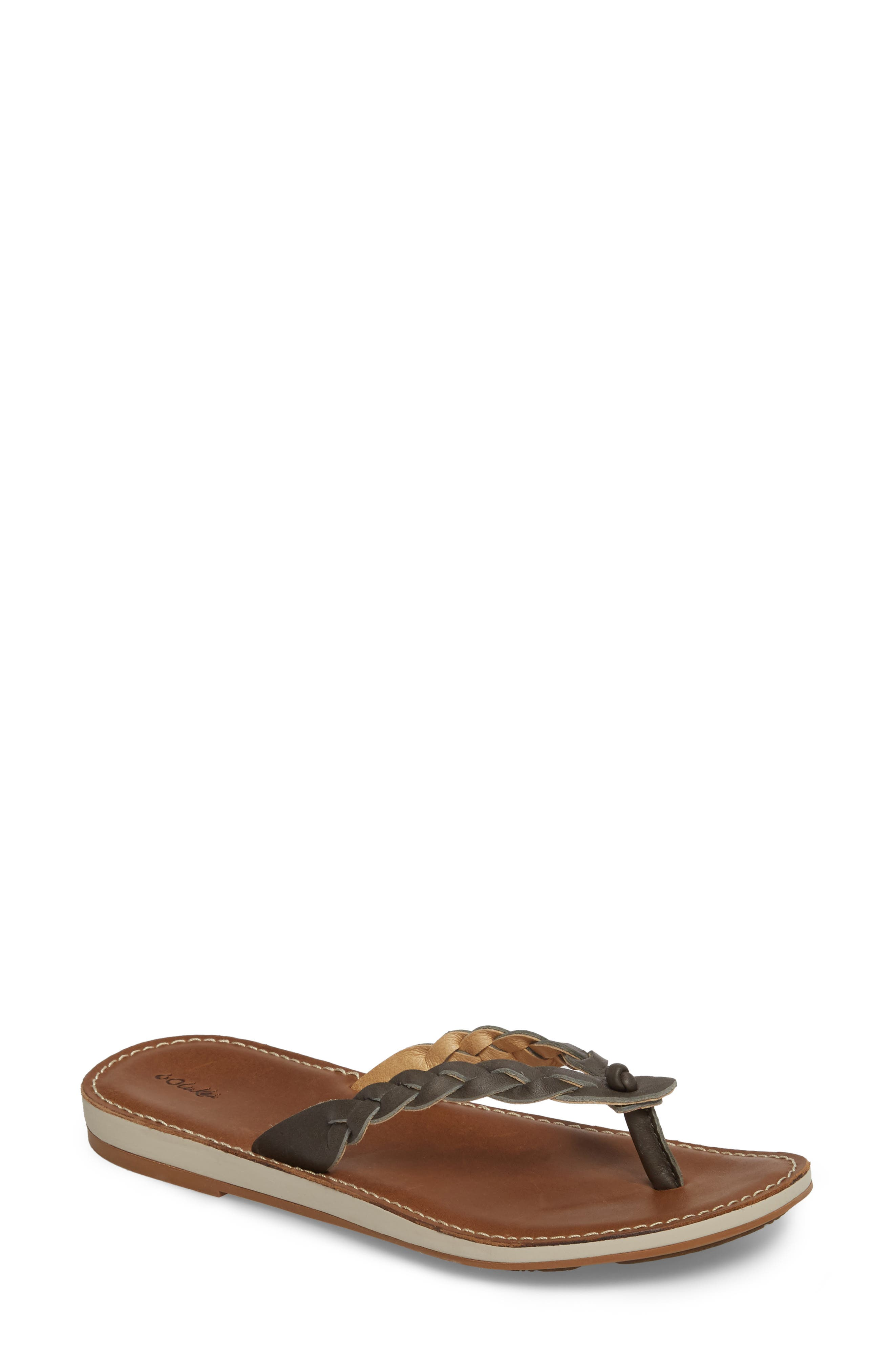 Kahiko Flip-Flop,                         Main,                         color, SLATE/ TAN LEATHER