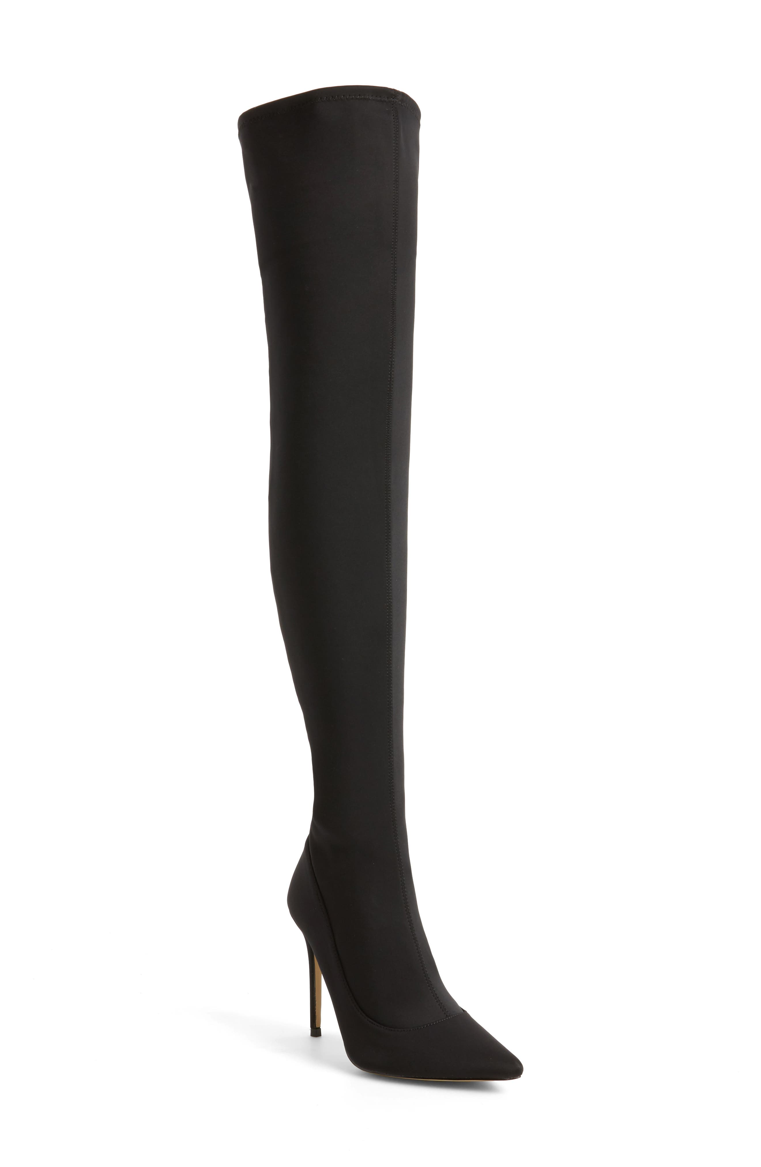 TOPSHOP,                             Bellini Stiletto Over the Knee Boot,                             Main thumbnail 1, color,                             001