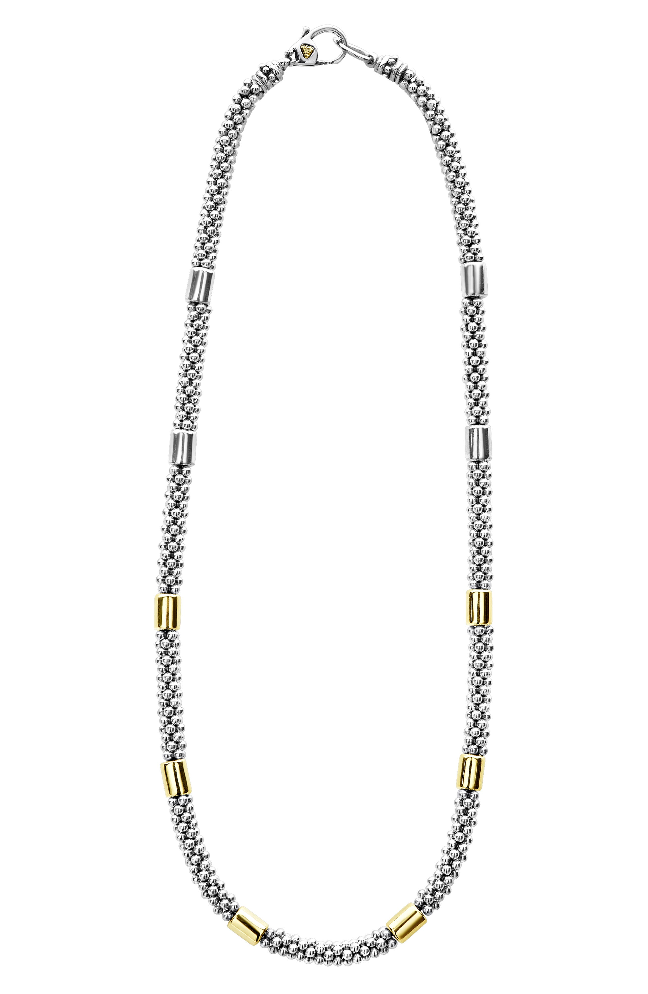 Caviar Rope Collar Necklace, Main, color, SILVER/ GOLD