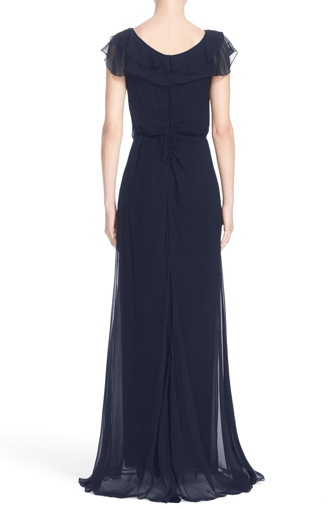 Ruffle Detail Silk Chiffon V-Neck Gown,                             Alternate thumbnail 4, color,                             400
