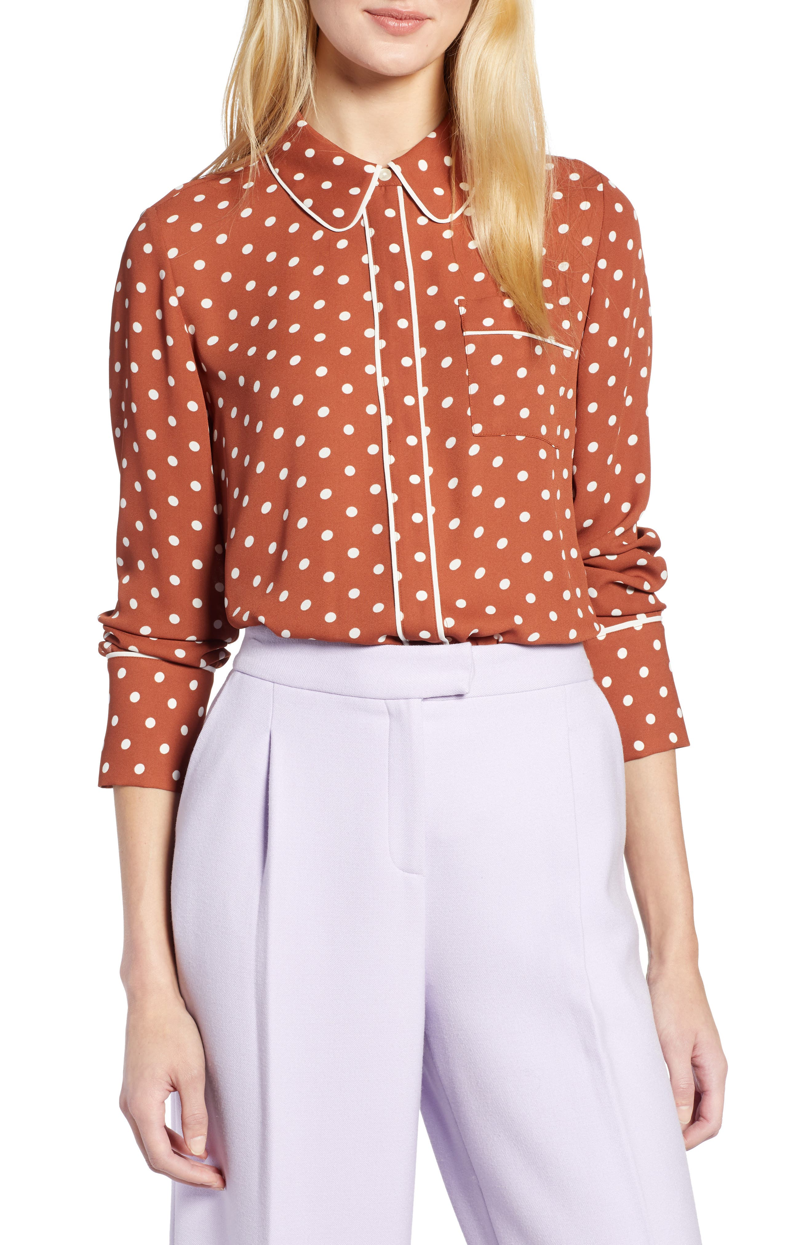 x Atlantic-Pacific Hidden Placket Blouse, Main, color, RUST SPACED DOT