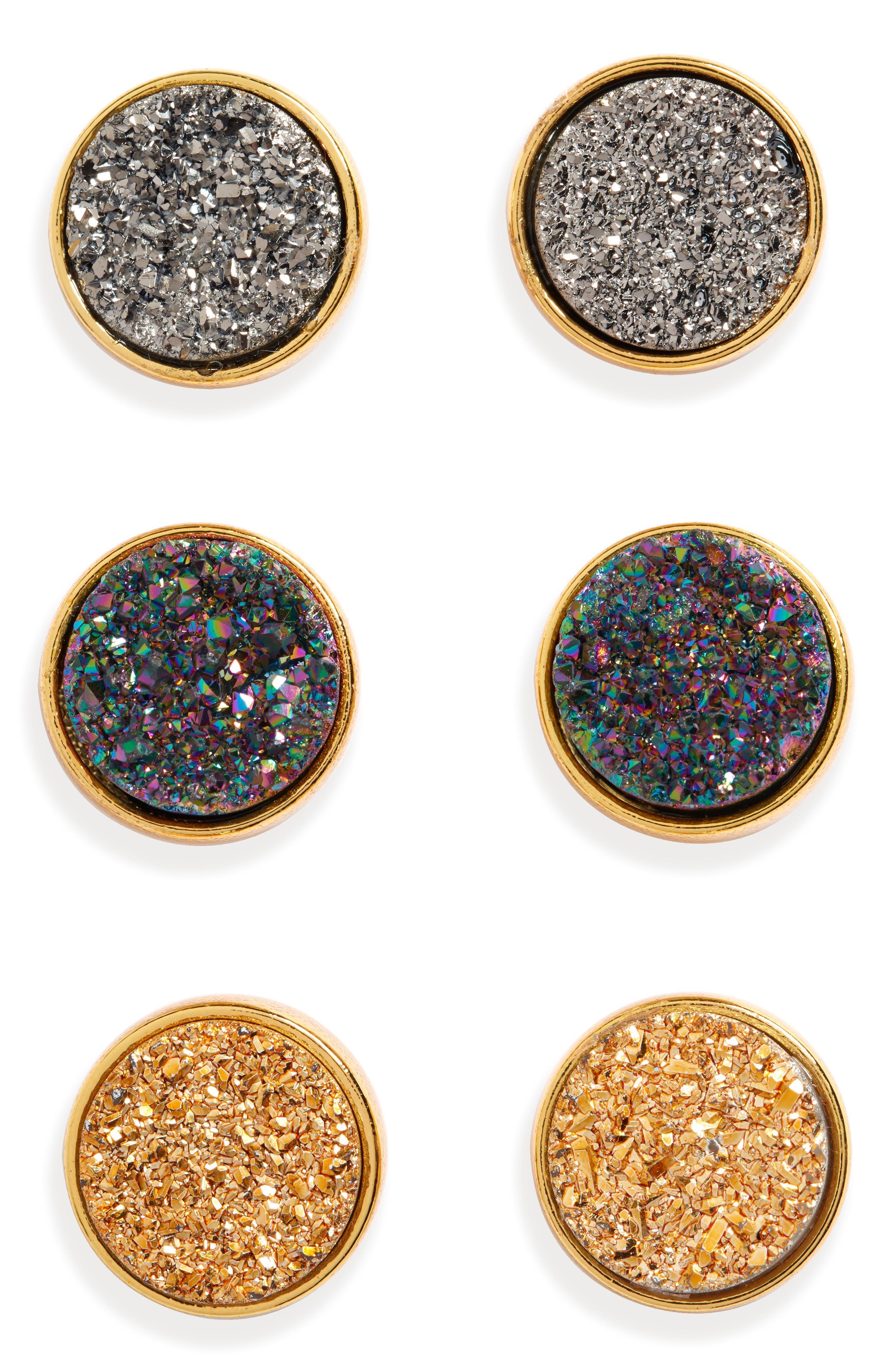 PANACEA Pack Of 3 Drusy Stud Earrings in Gold