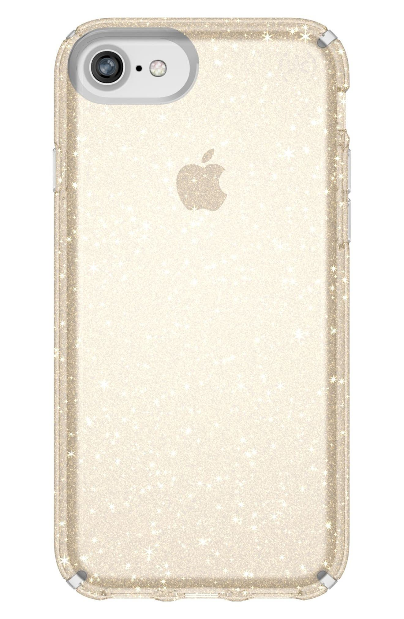 iPhone 6/6s/7/8 Case,                             Main thumbnail 1, color,                             CLEAR WITH GOLD GLITTER/ CLEAR