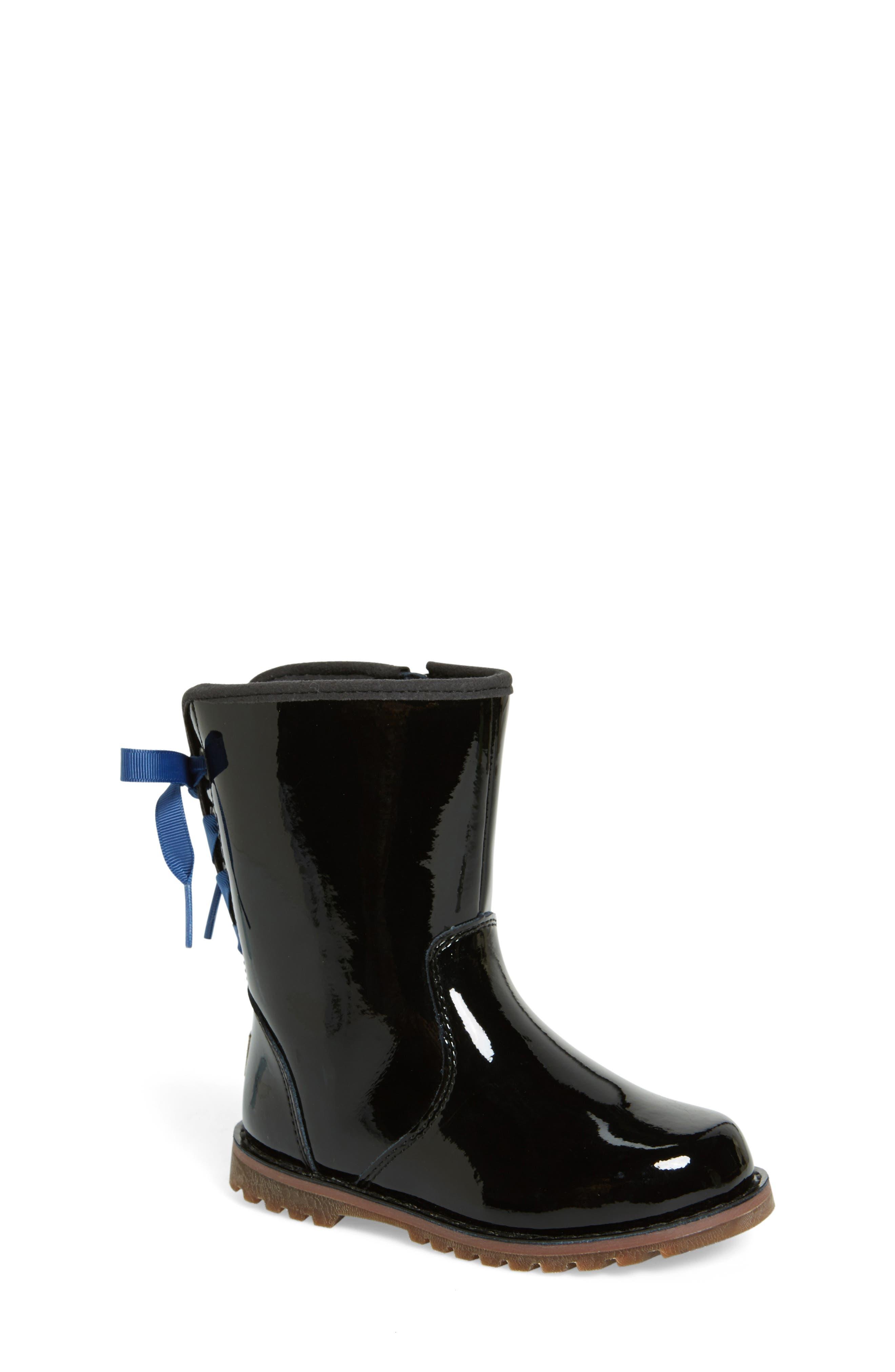 Corene Patent Leather Boot,                             Alternate thumbnail 4, color,                             BLACK/ BLACK