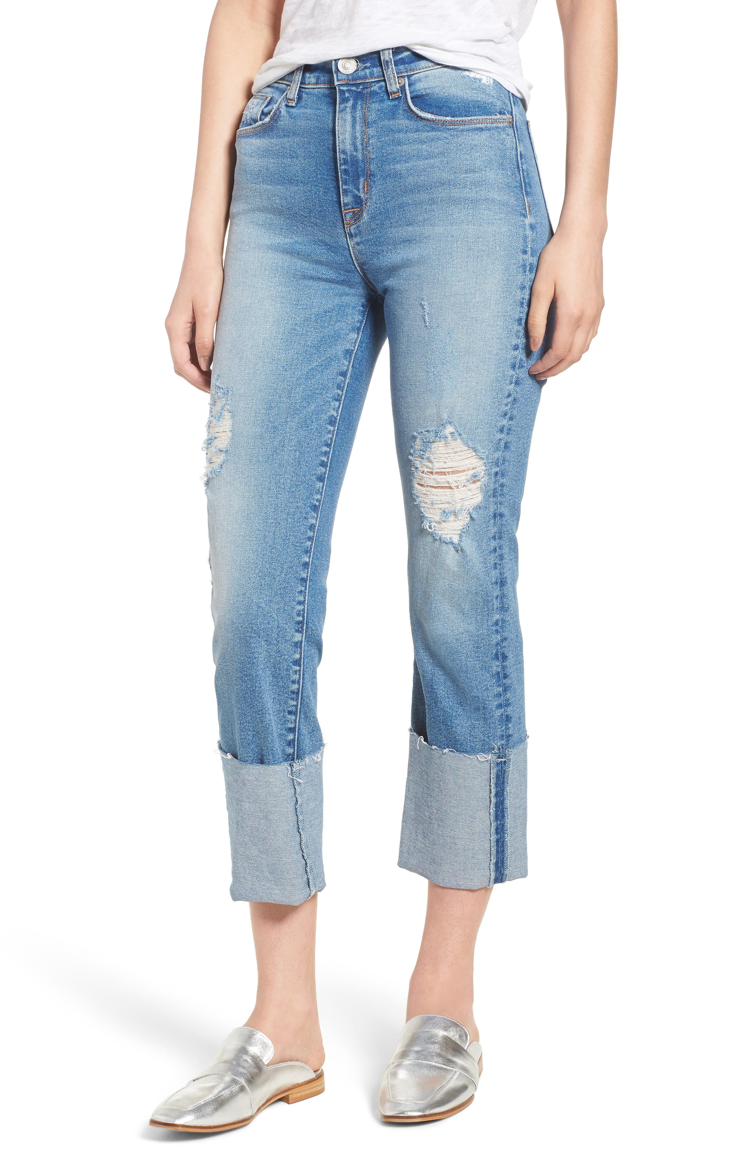 Zoeey High Waist Cuff Straight Leg Jeans,                             Main thumbnail 1, color,                             425