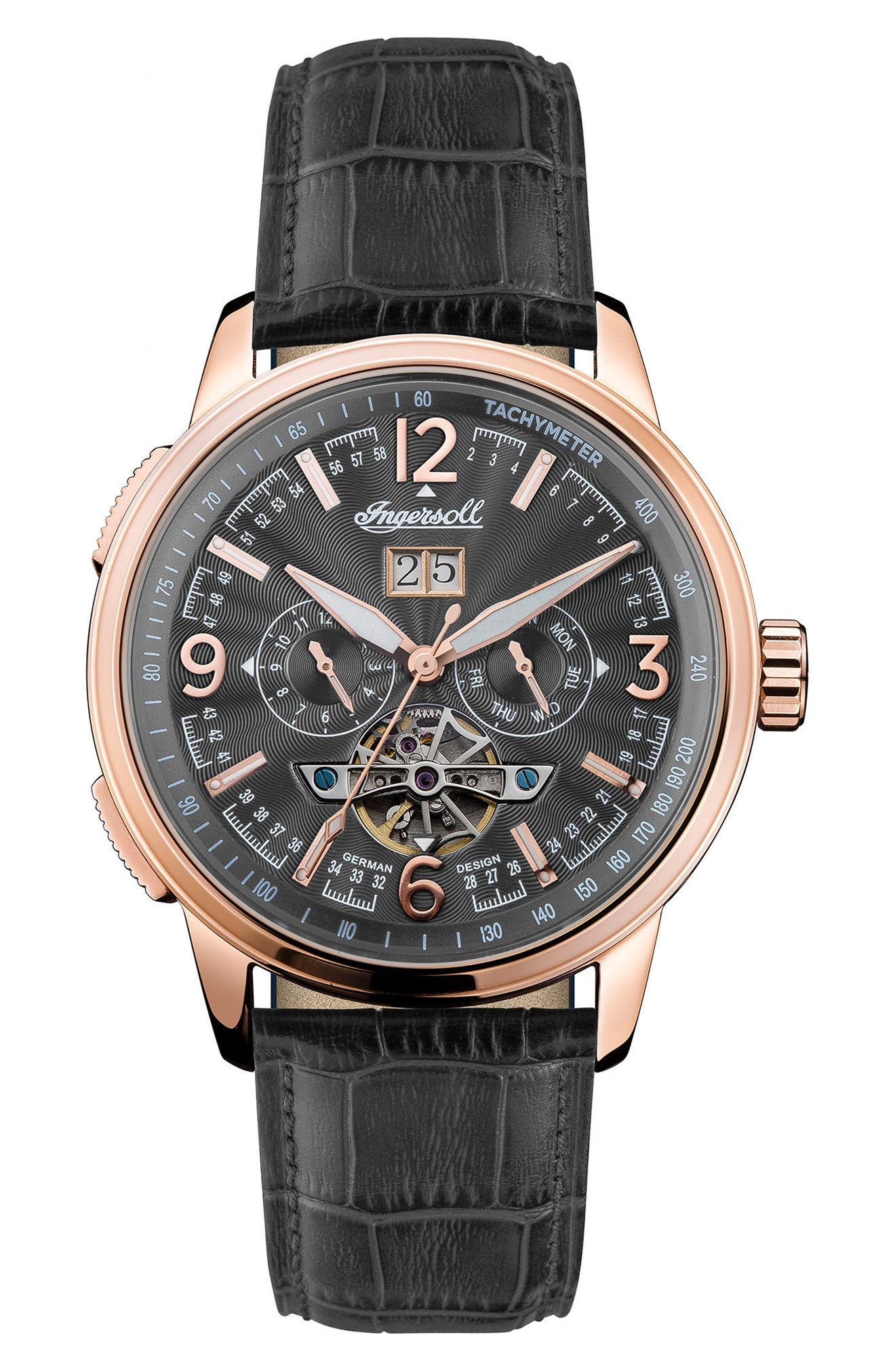 Ingersoll Regent Automatic Open Heart Leather Strap Watch, 47mm,                         Main,                         color, BLACK/ ROSE GOLD