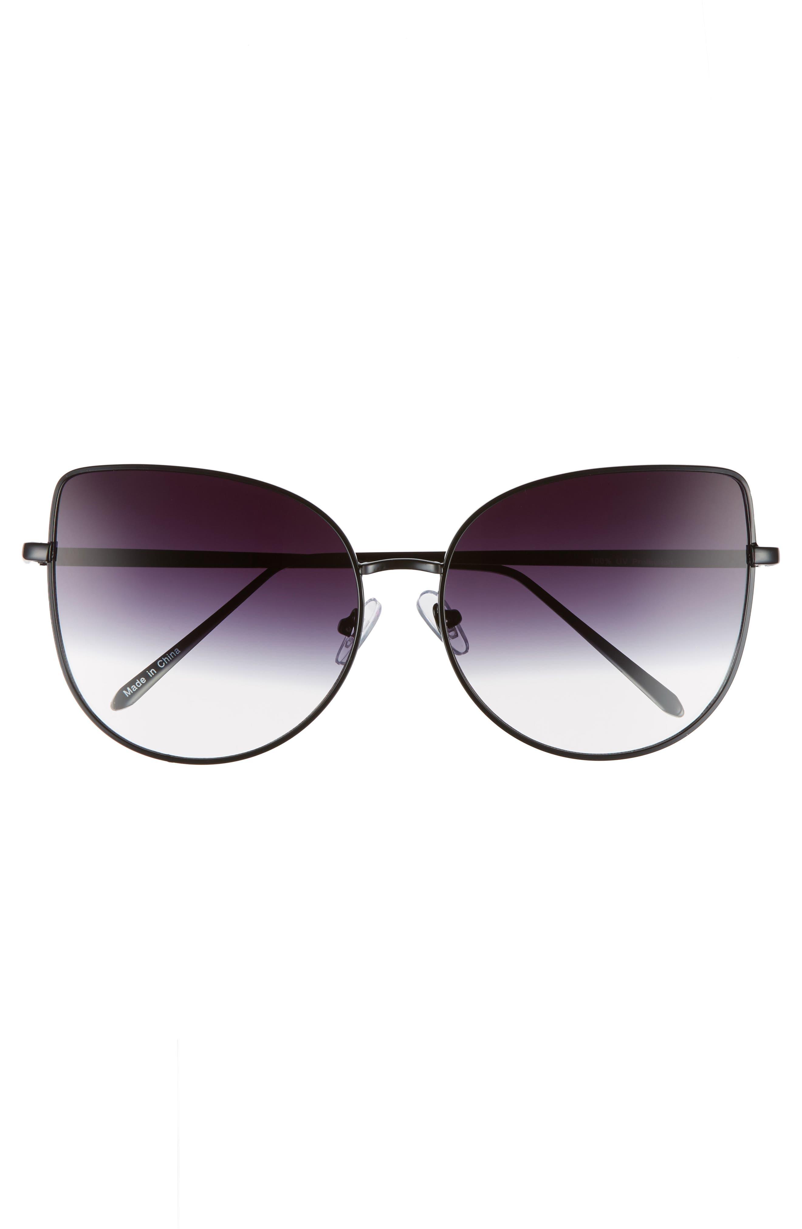 60mm Metal Cat Eye Sunglasses,                             Alternate thumbnail 3, color,                             001