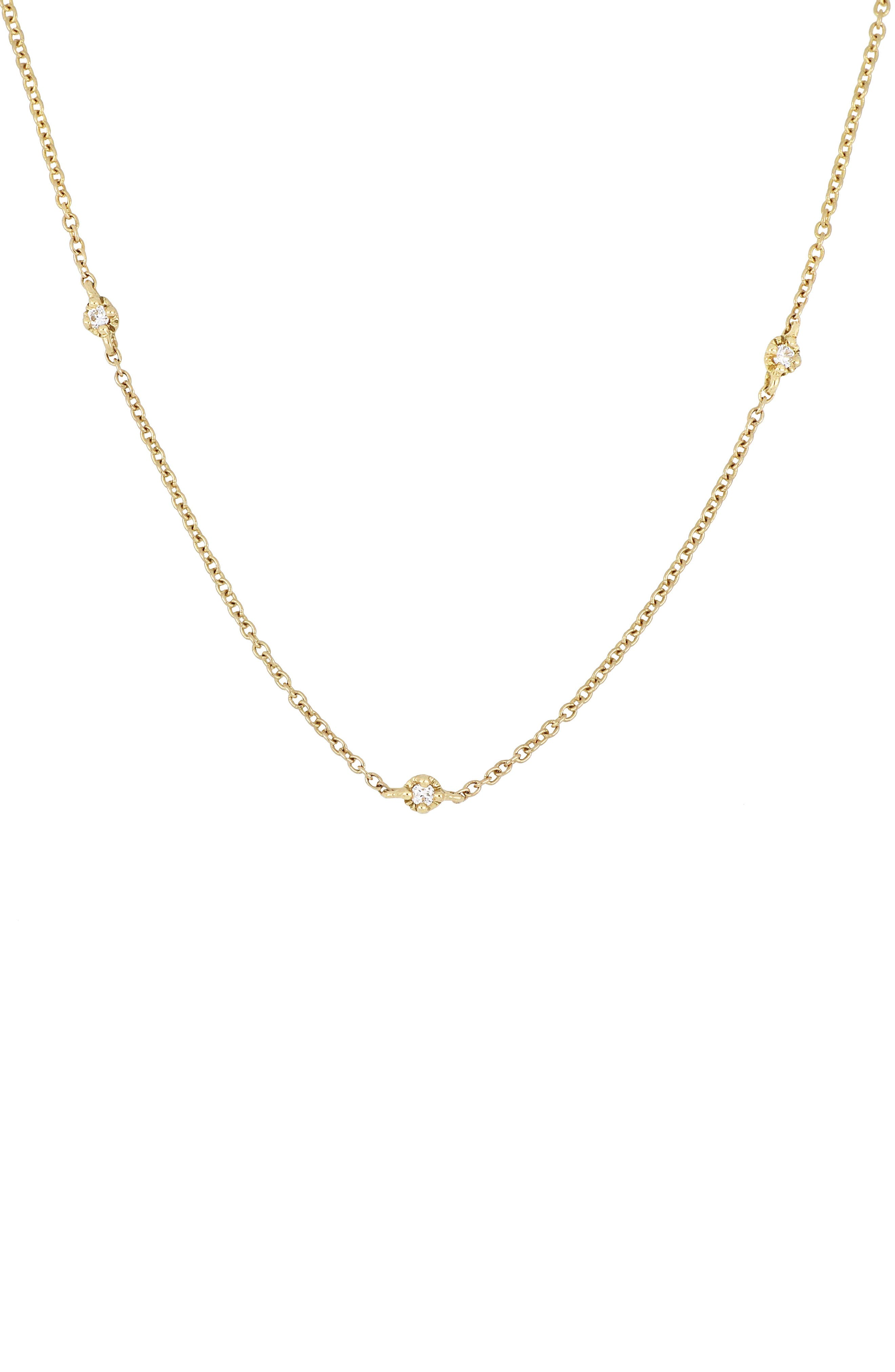 Mila Three-Diamond Short Station Necklace,                             Main thumbnail 1, color,                             YELLOW GOLD
