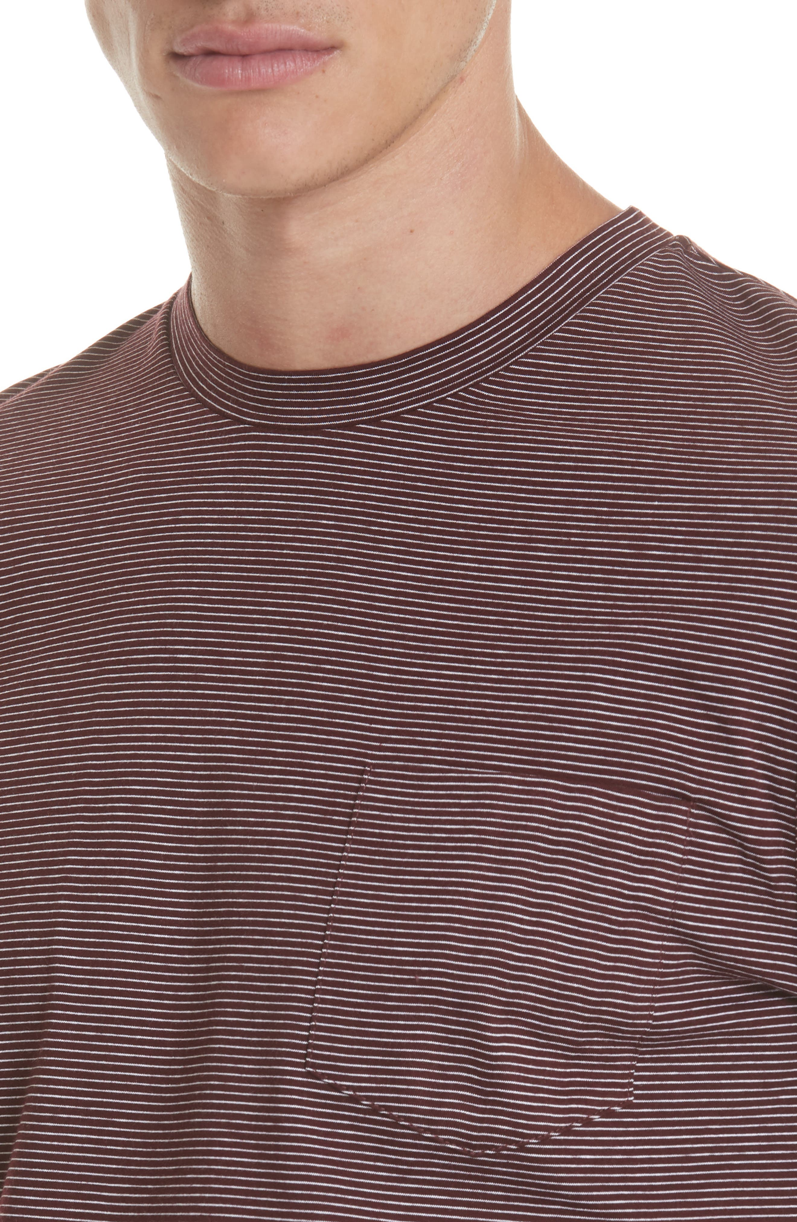 Stripe Pocket T-Shirt,                             Alternate thumbnail 4, color,                             BURGUNDY