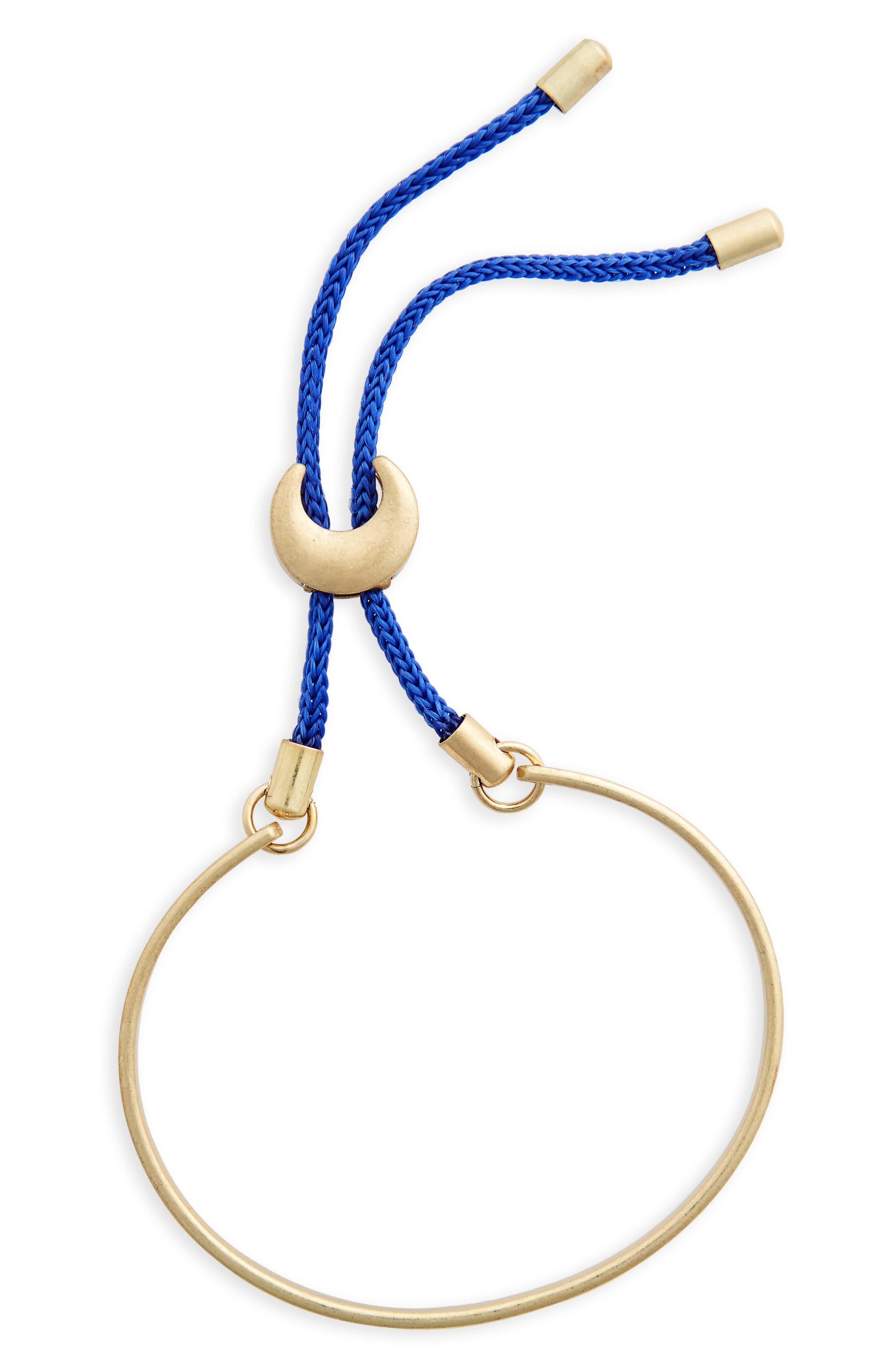Color Cord Goldtone Bolo Bracelet,                             Main thumbnail 1, color,                             400